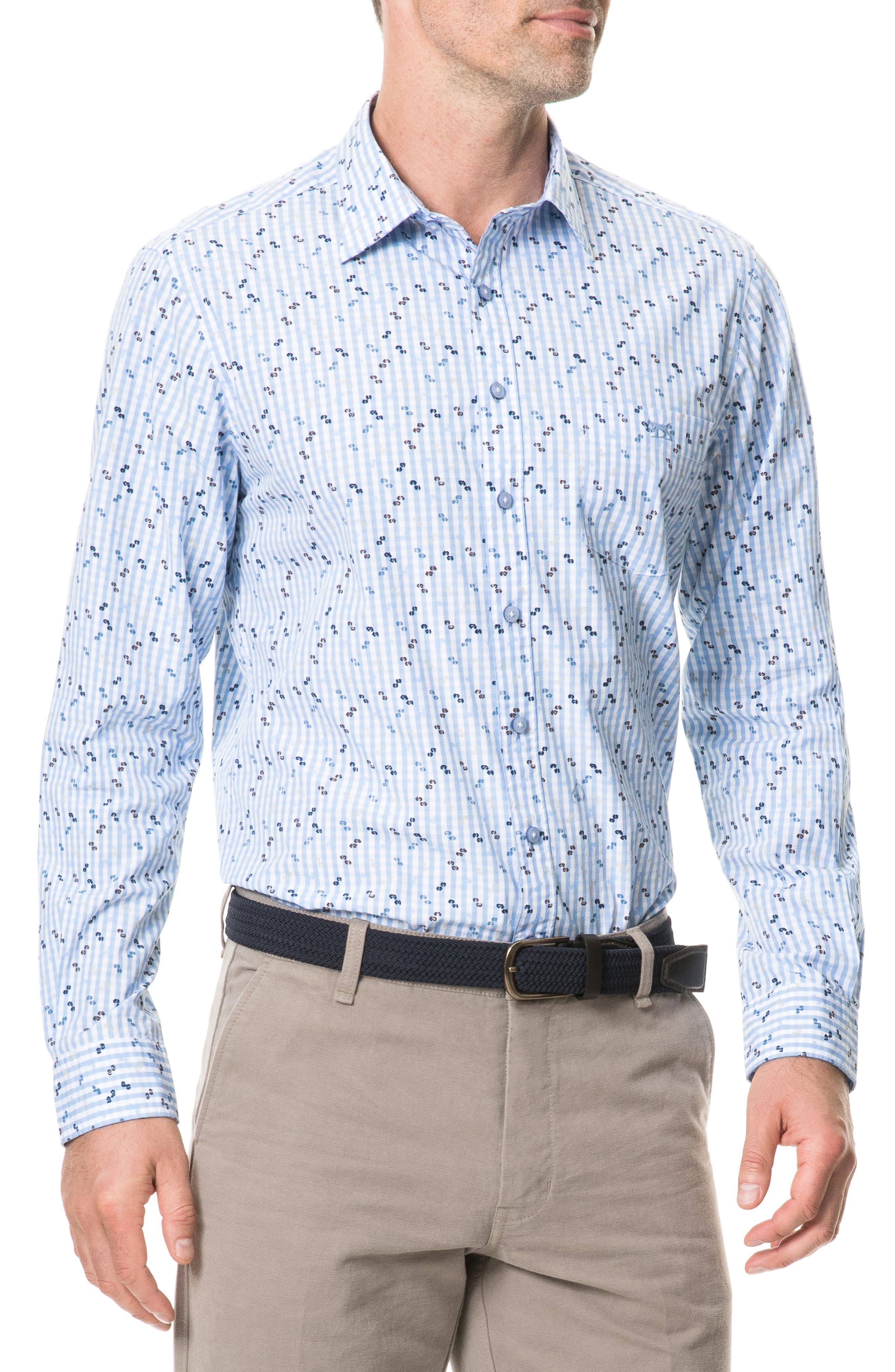 Mitchies Crossing Regular Fit Spotted Gingham Sport Shirt,                             Main thumbnail 1, color,                             PEACOAT