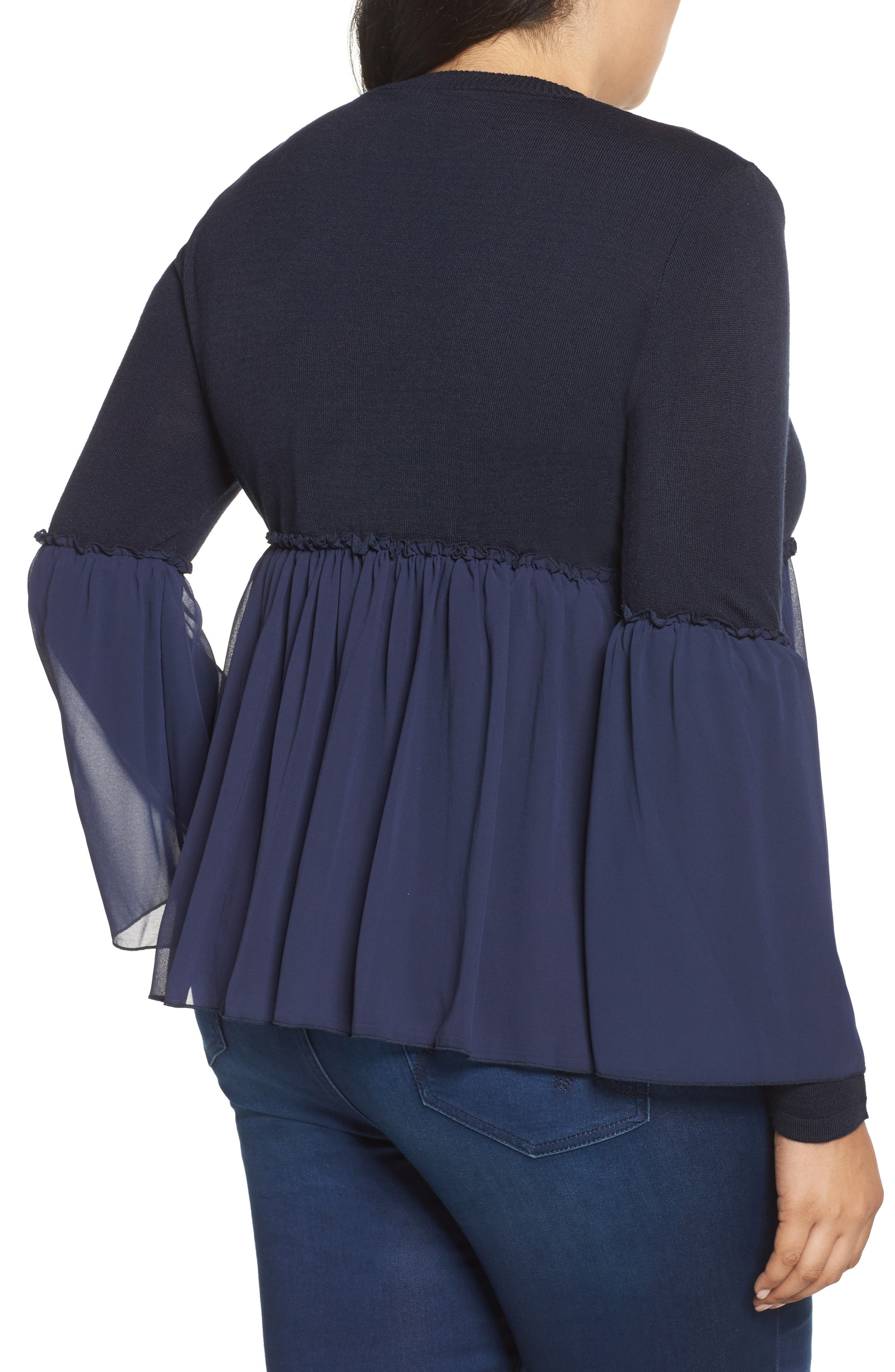 Smocked Chiffon Contrast Sweater,                             Alternate thumbnail 4, color,