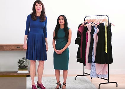 Play video to learn how to find the best-fitting dress.