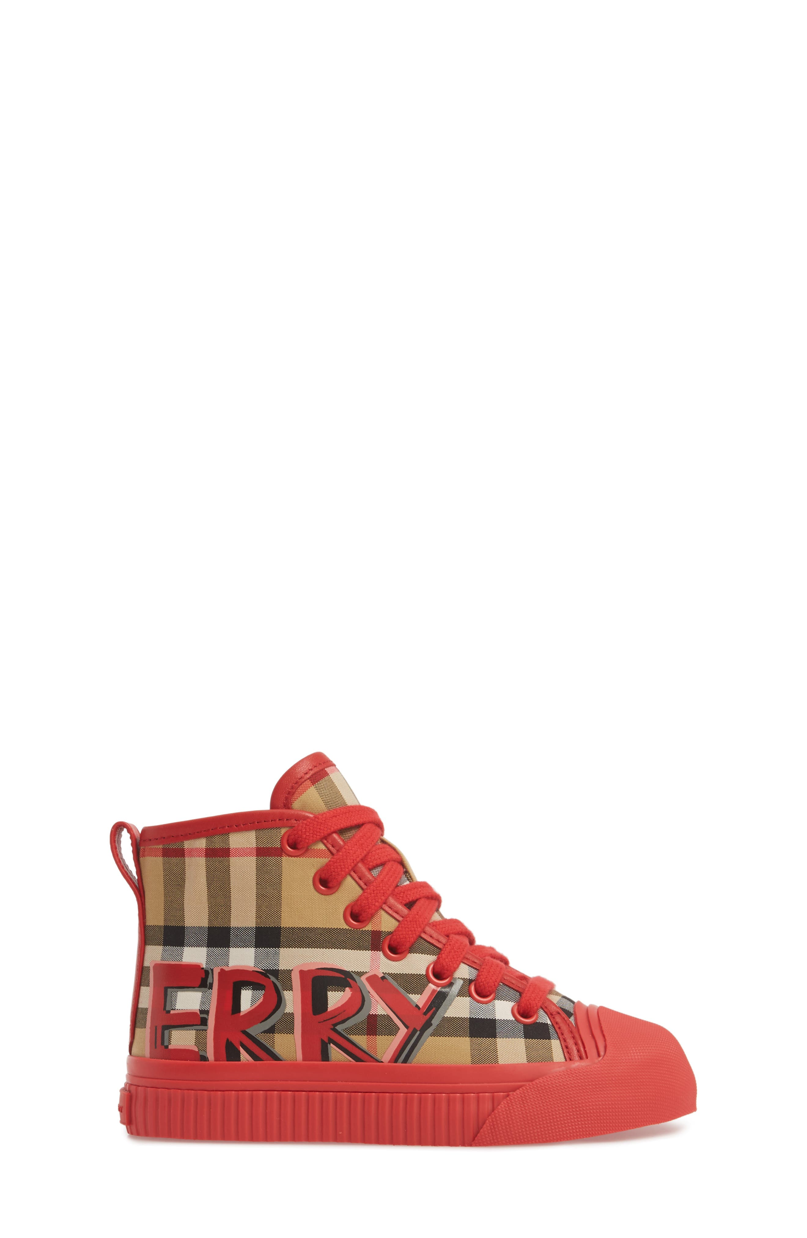 Mini Kingly High Top Sneaker,                             Alternate thumbnail 3, color,                             BRIGHT RED