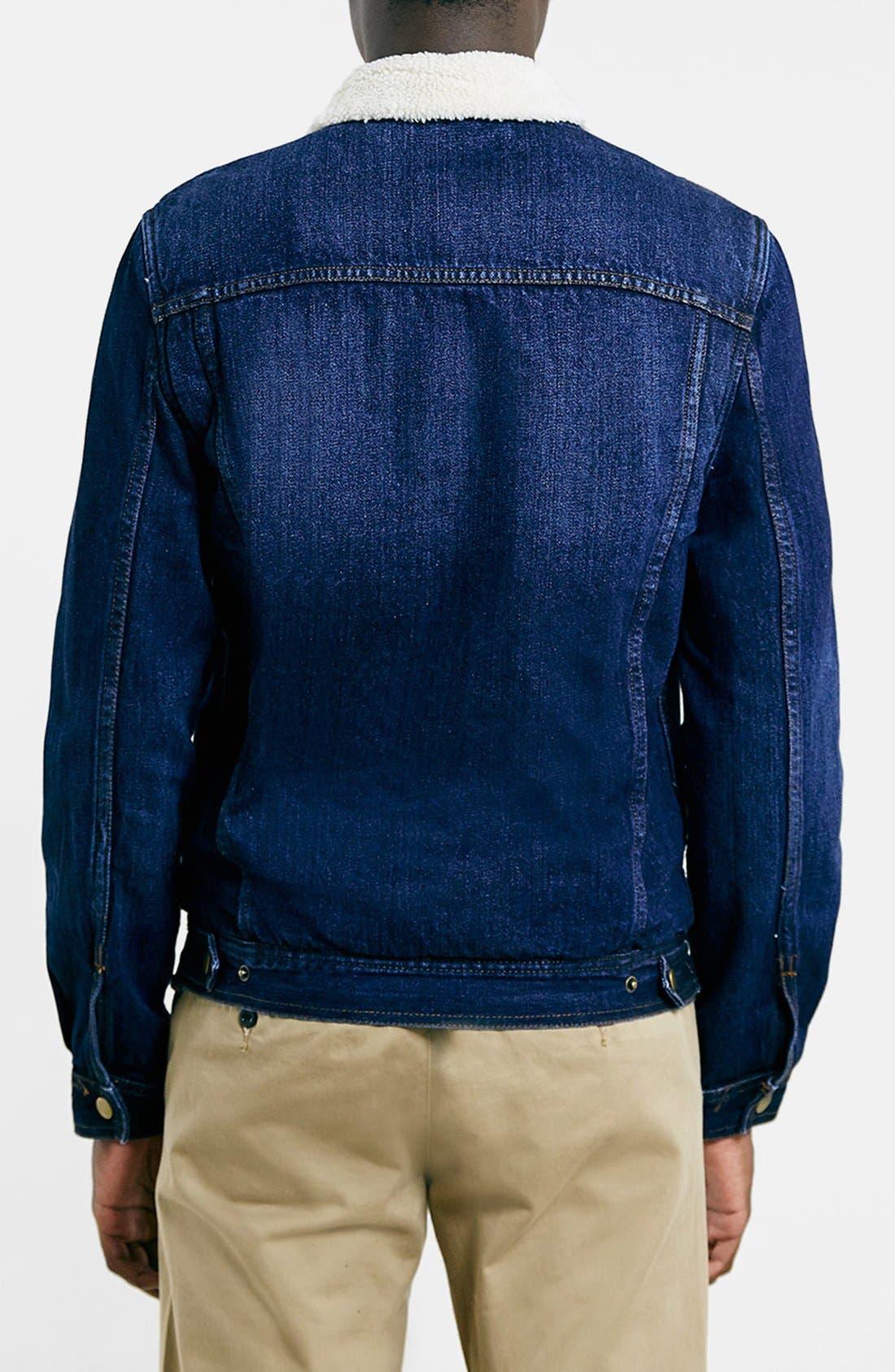 TOPMAN,                             Faux Fur Lined Denim Jacket,                             Alternate thumbnail 2, color,                             400