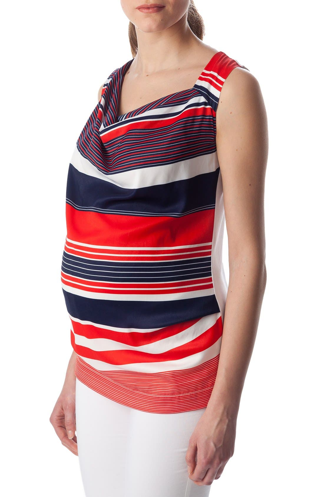 'Fialka' Maternity Top,                             Alternate thumbnail 3, color,                             RED/BLUE STRIPES