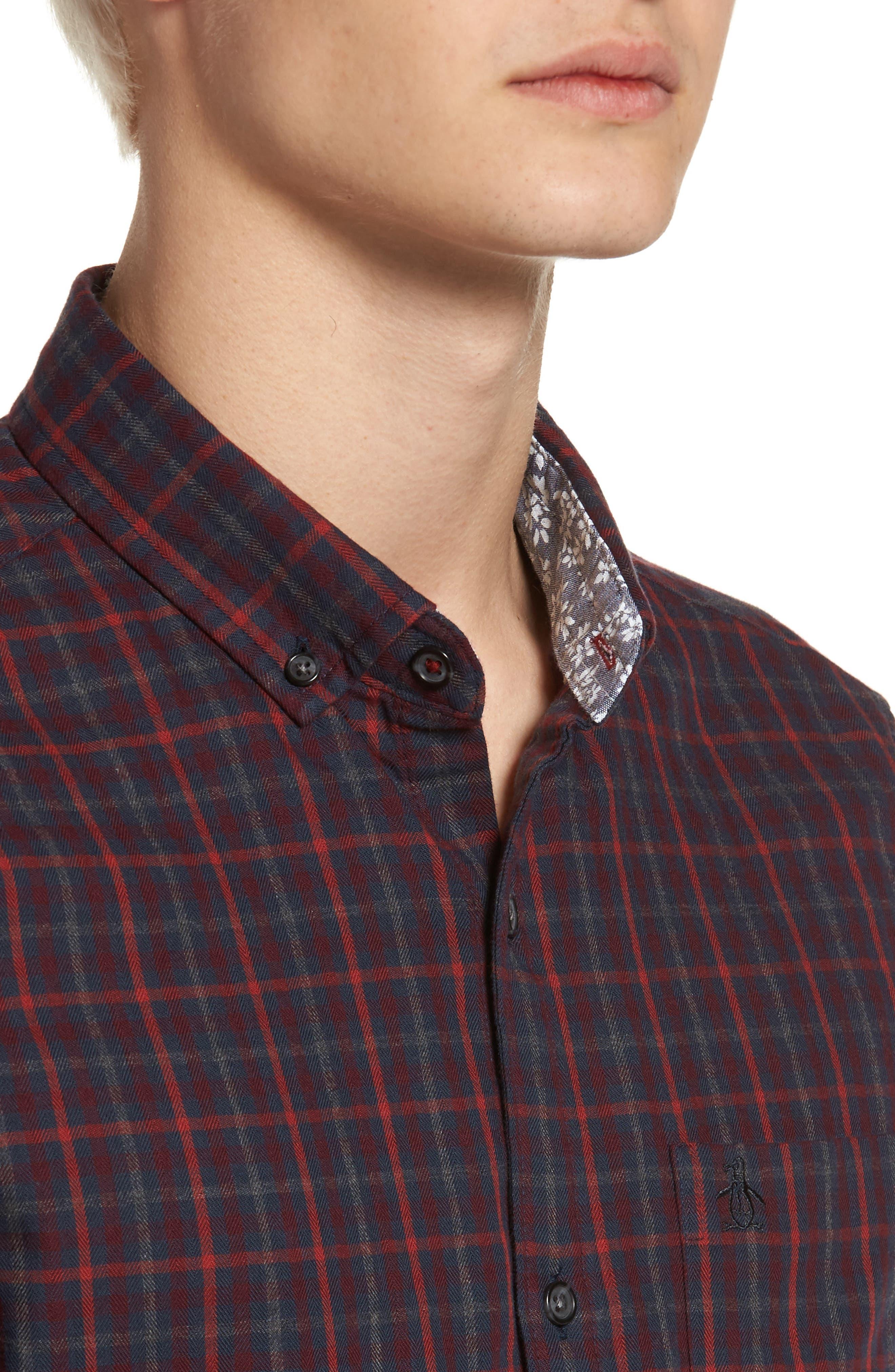 Brushed Flannel Gingham Shirt,                             Alternate thumbnail 4, color,                             413