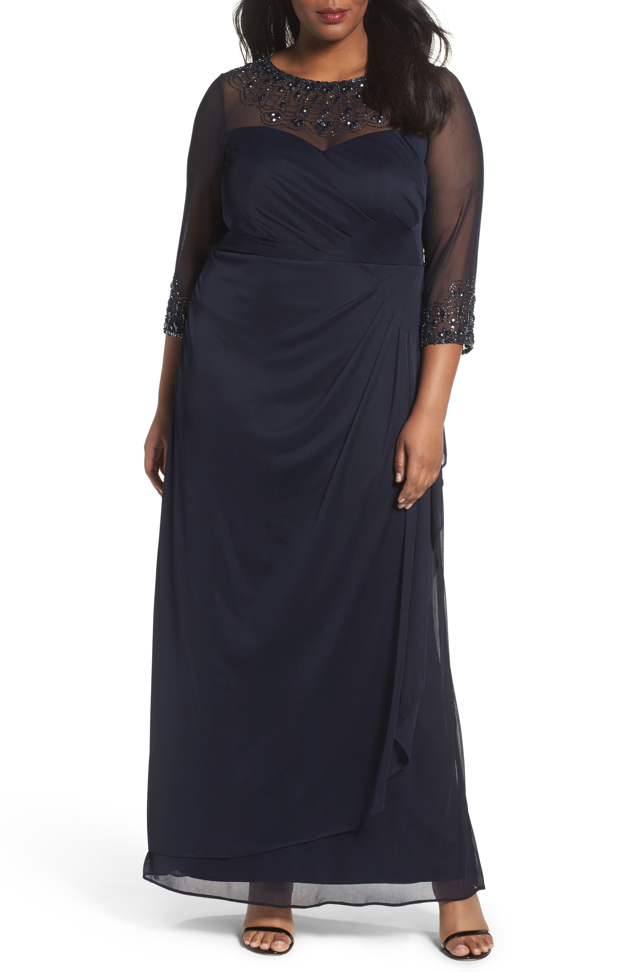 Beaded Illusion Neck A-Line Gown,                         Main,                         color, DARK NAVY