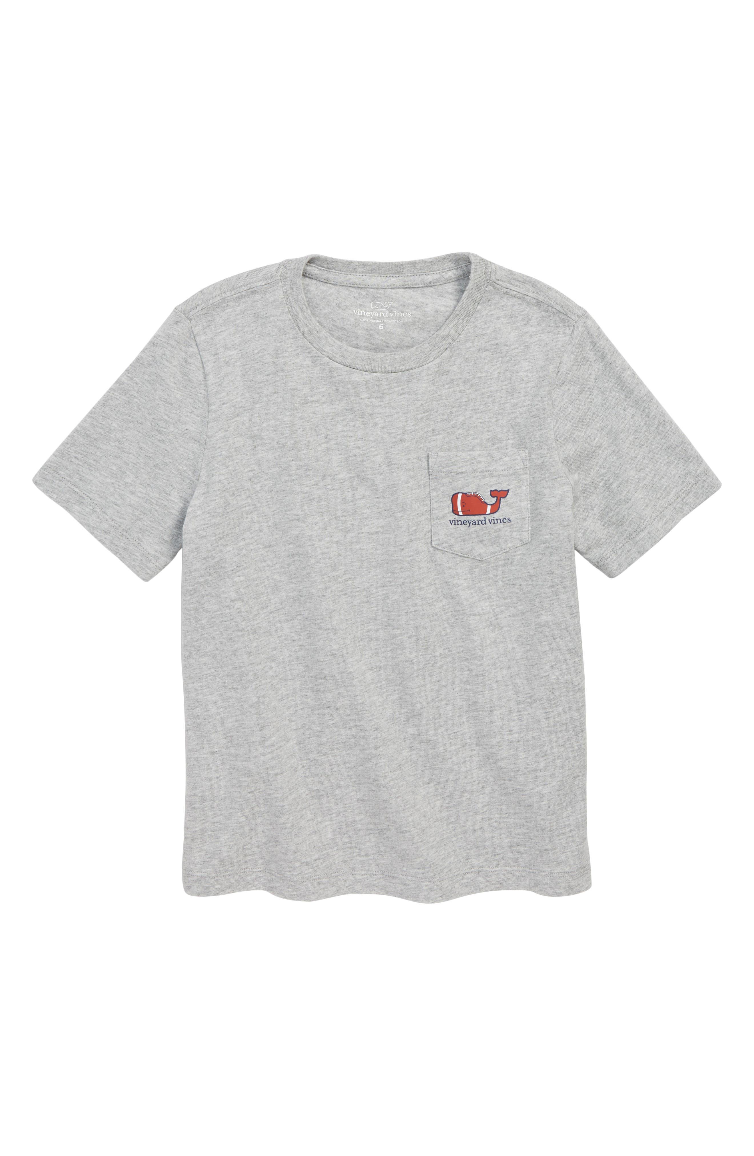 Heathered Football Whale Pocket T-Shirt,                             Main thumbnail 1, color,                             GRAY HEATHER