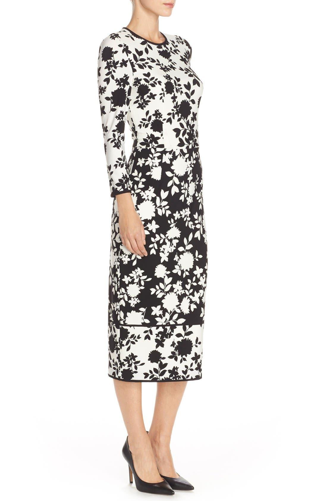 Floral Print Jersey Midi Dress,                             Alternate thumbnail 5, color,                             005
