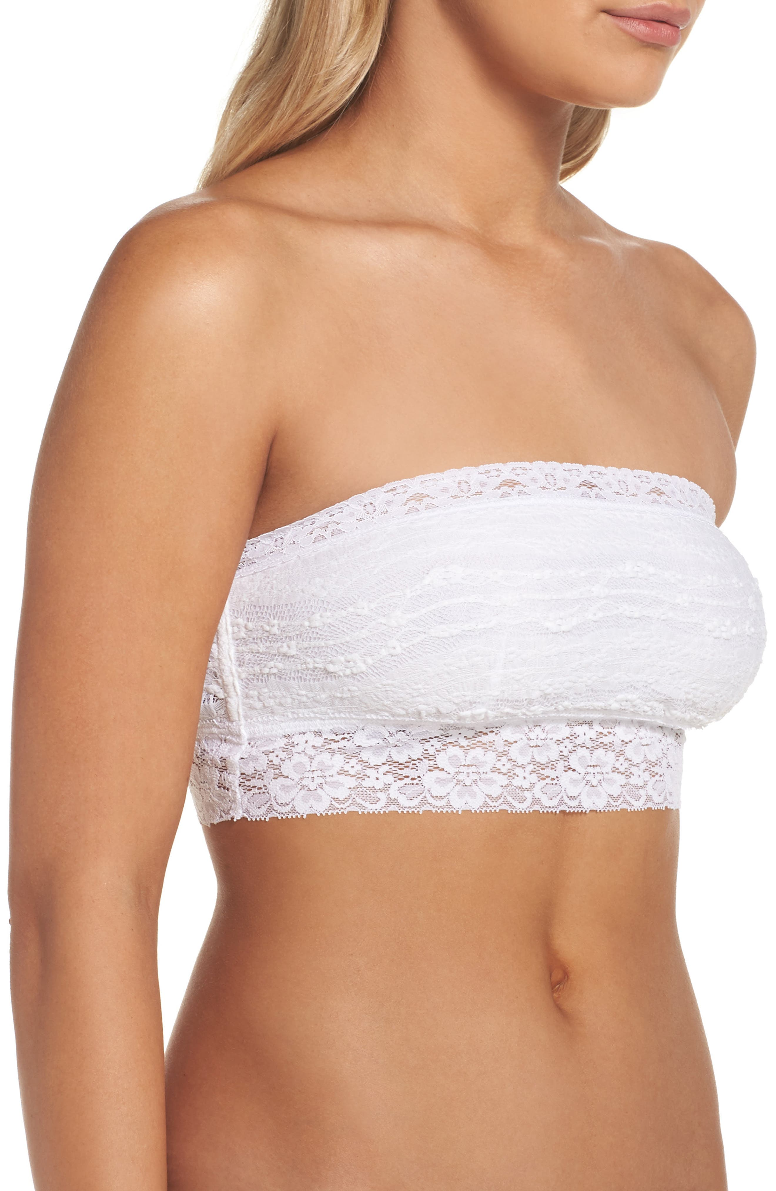 Intimately FP Lace Bandeau Bralette,                             Alternate thumbnail 4, color,                             WHITE
