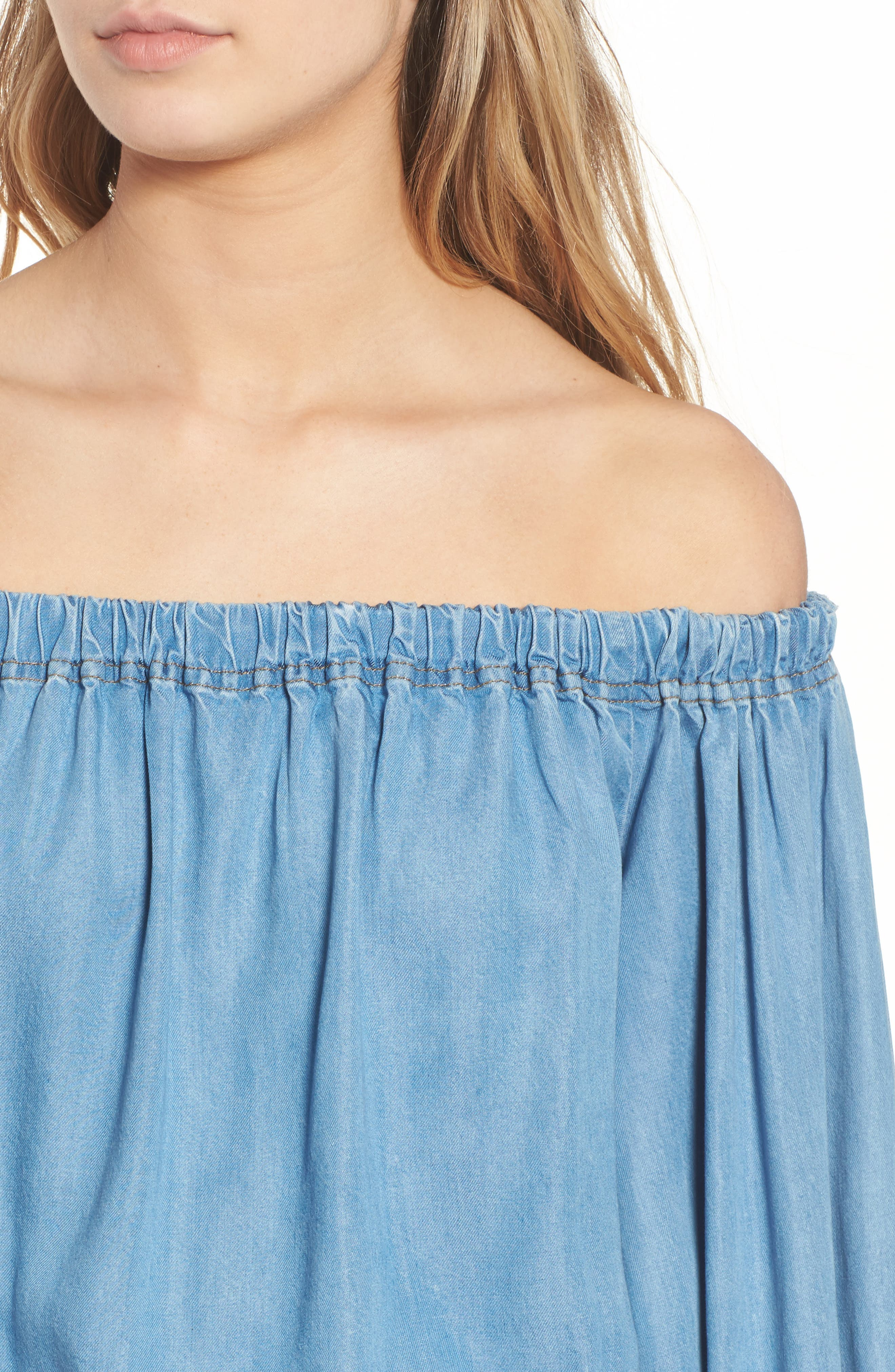 Blouson Off the Shoulder Denim Top,                             Alternate thumbnail 4, color,                             401