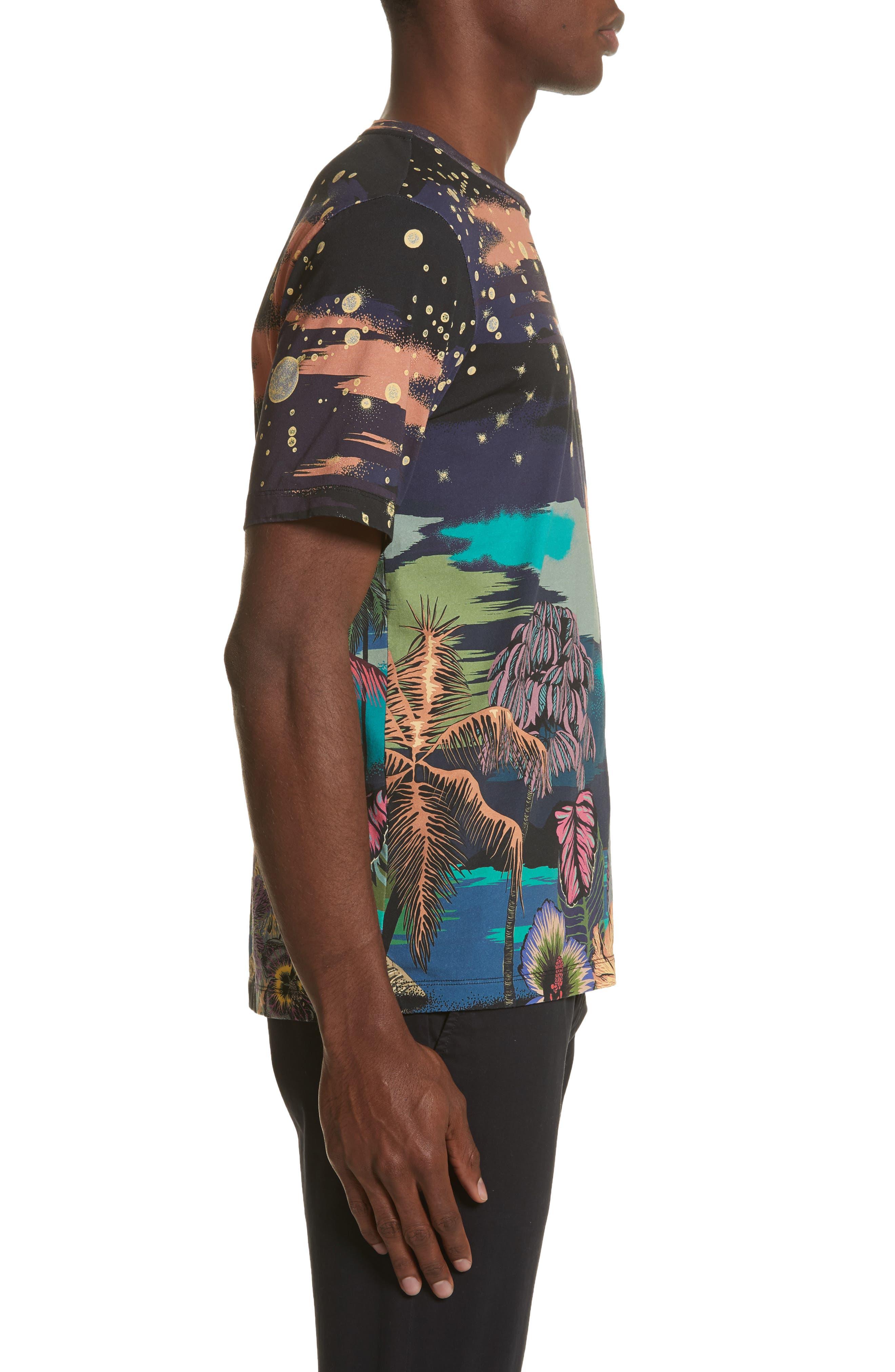 Palm Tree Print T-Shirt,                             Alternate thumbnail 3, color,                             400