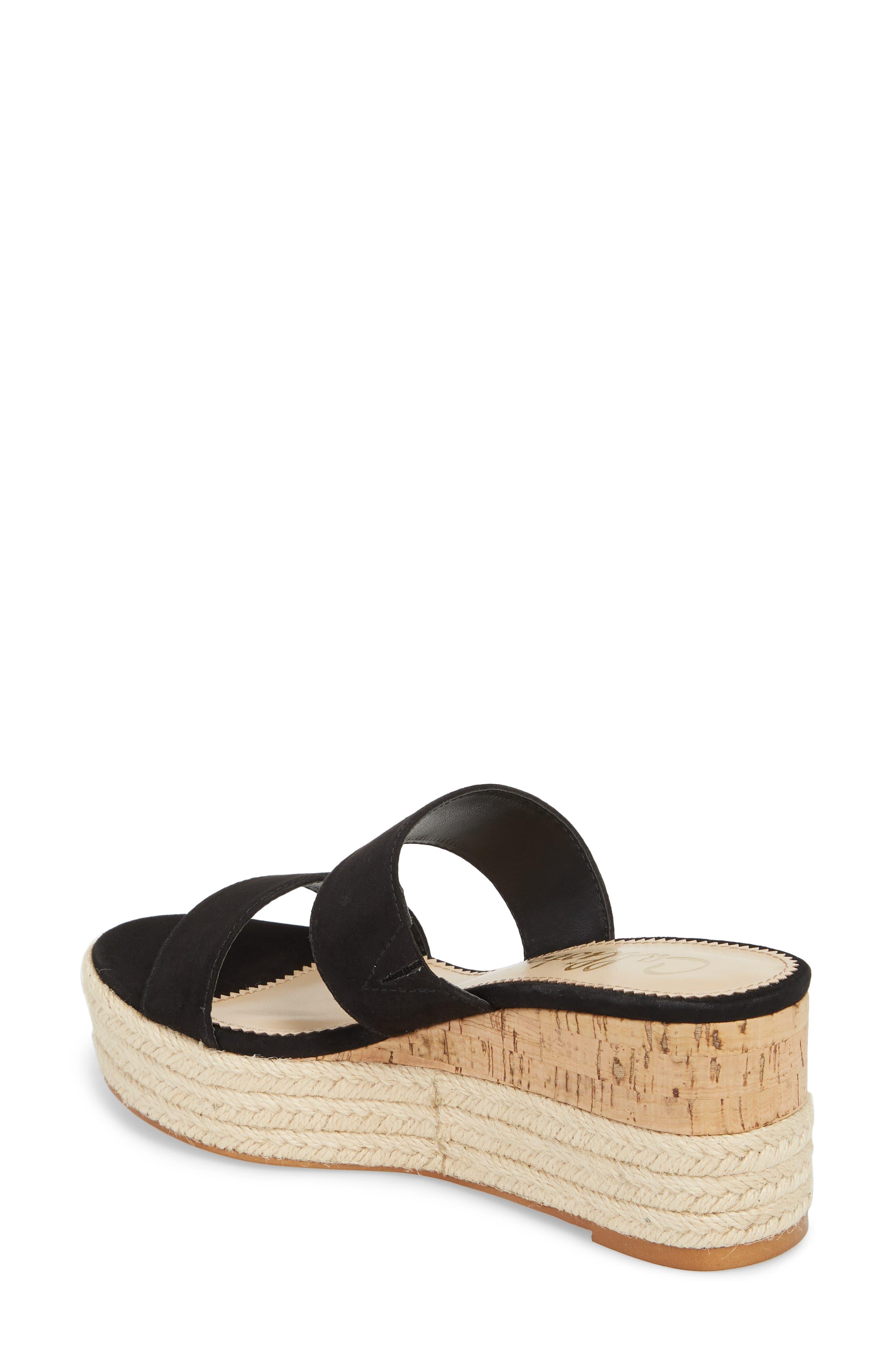 Foundation Platform Slide Sandal,                             Alternate thumbnail 2, color,                             BLACK SUEDE