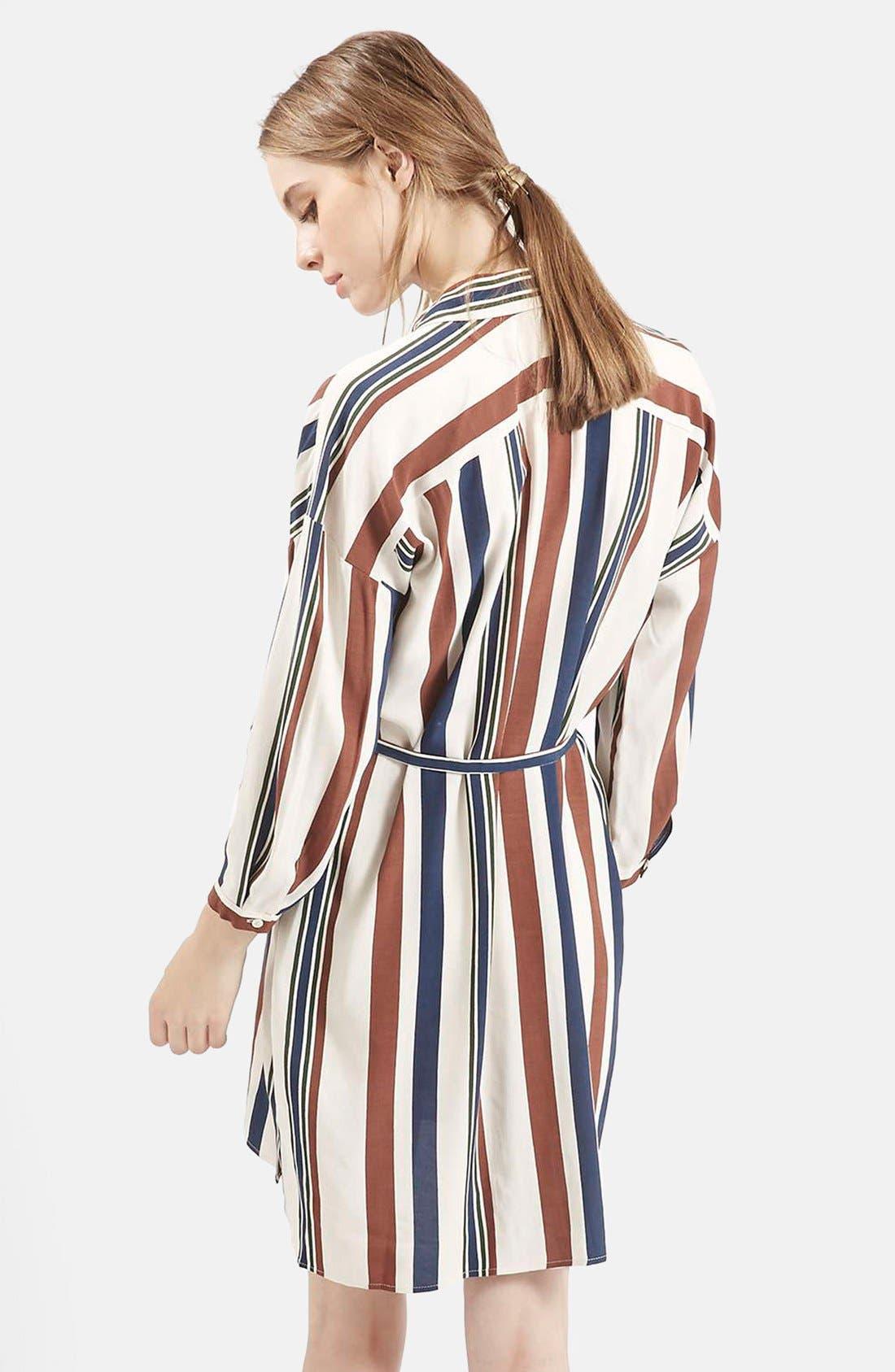 Stripe Belted Shirtdress,                             Alternate thumbnail 4, color,                             900