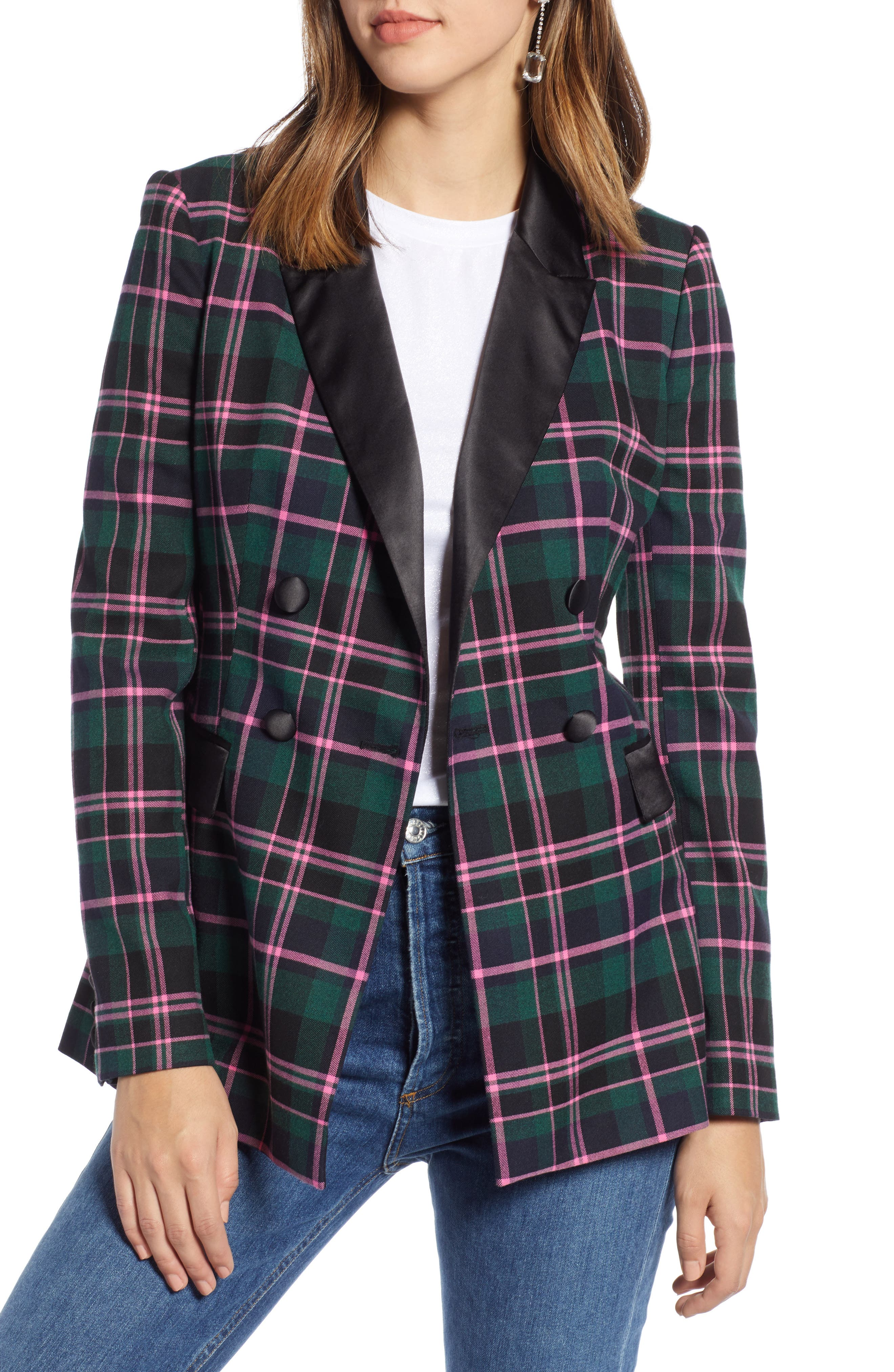 Double Breasted Plaid Blazer,                         Main,                         color, 301