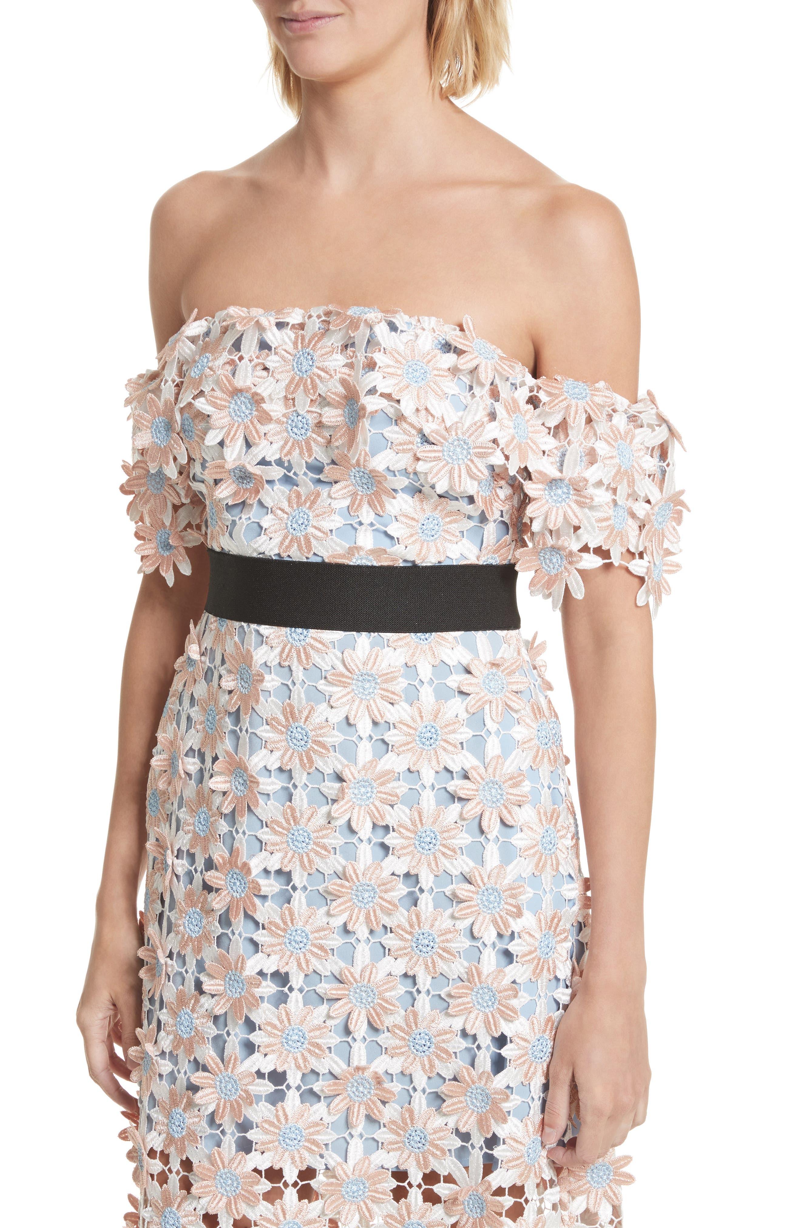3D Floral Lace Off the Shoulder Midi Dress,                             Alternate thumbnail 4, color,                             650