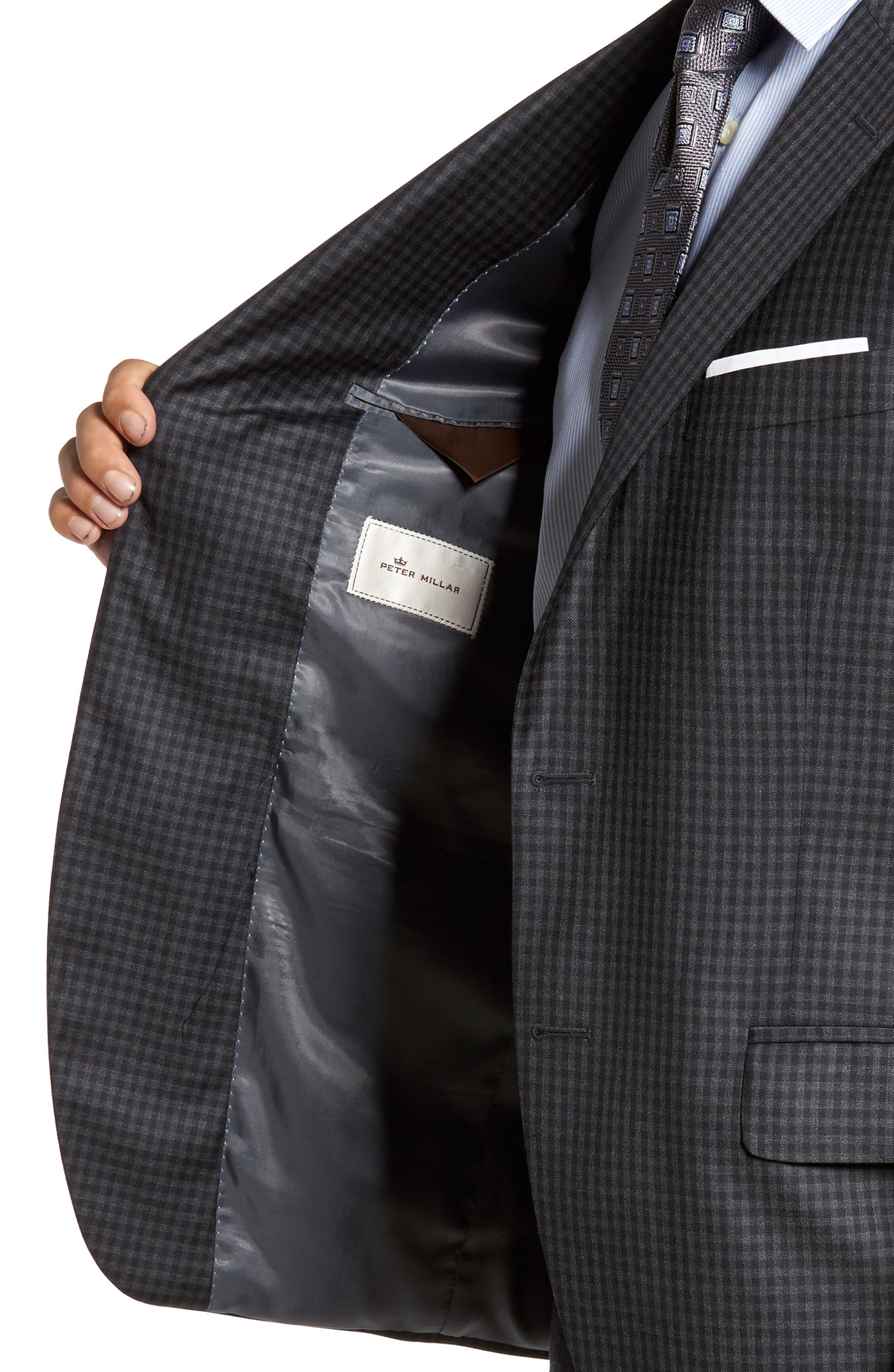 Flynn Classic Fit Check Wool Sport Coat,                             Alternate thumbnail 4, color,                             010
