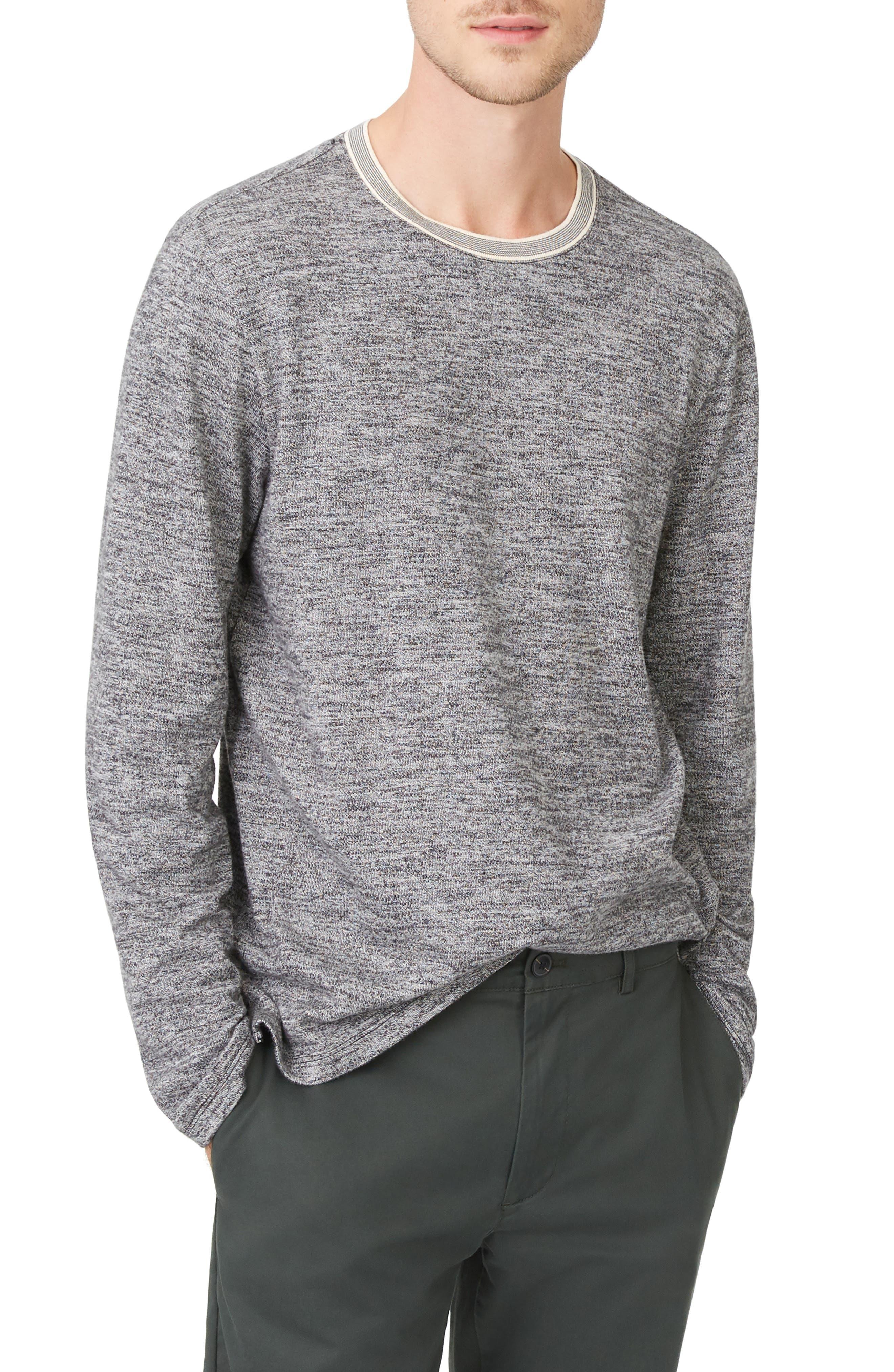 Marled Cotton Crewneck Shirt,                         Main,                         color, CHARCOAL HEATHER