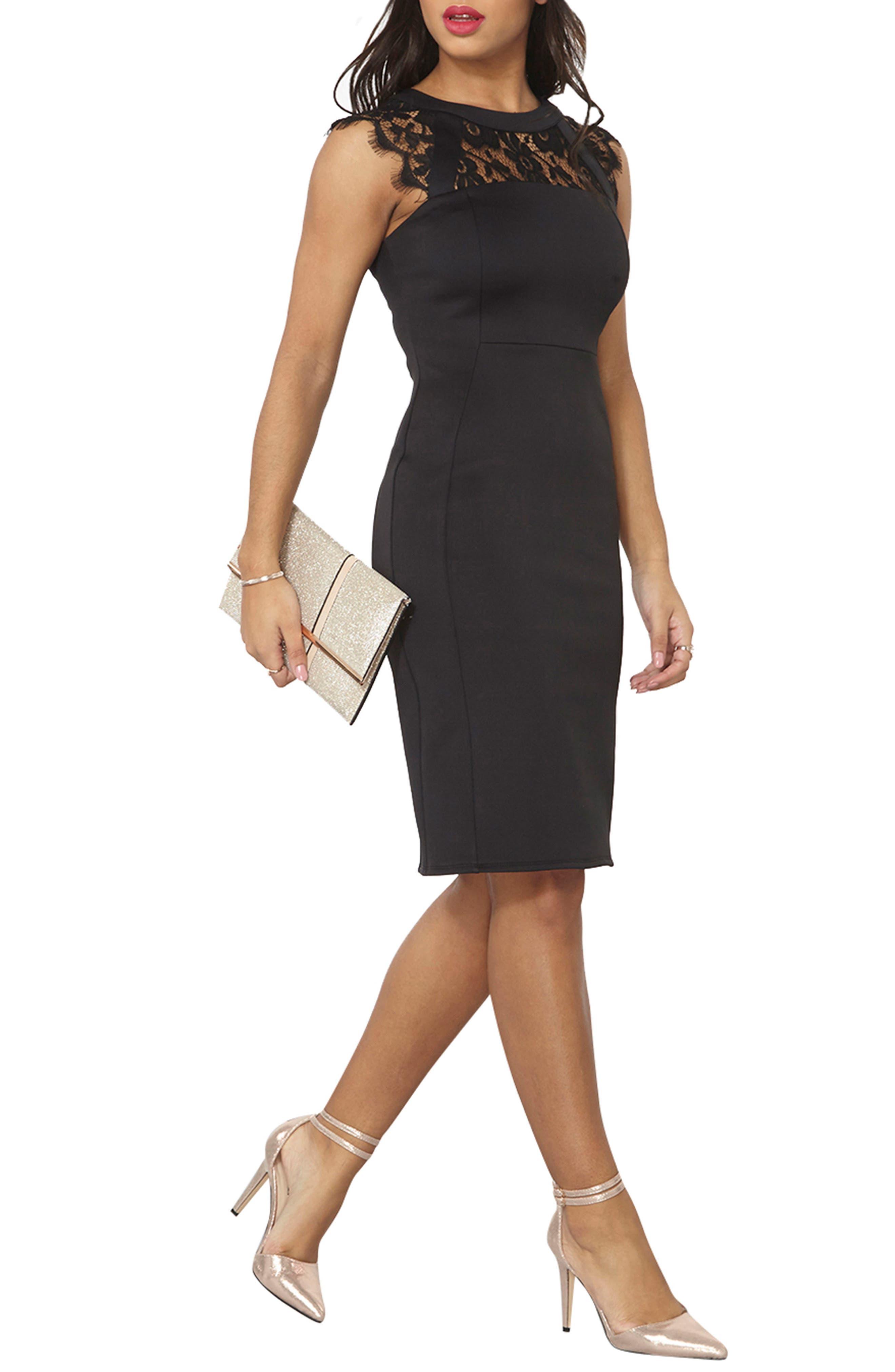 Lace Sheath Dress,                             Main thumbnail 1, color,                             001