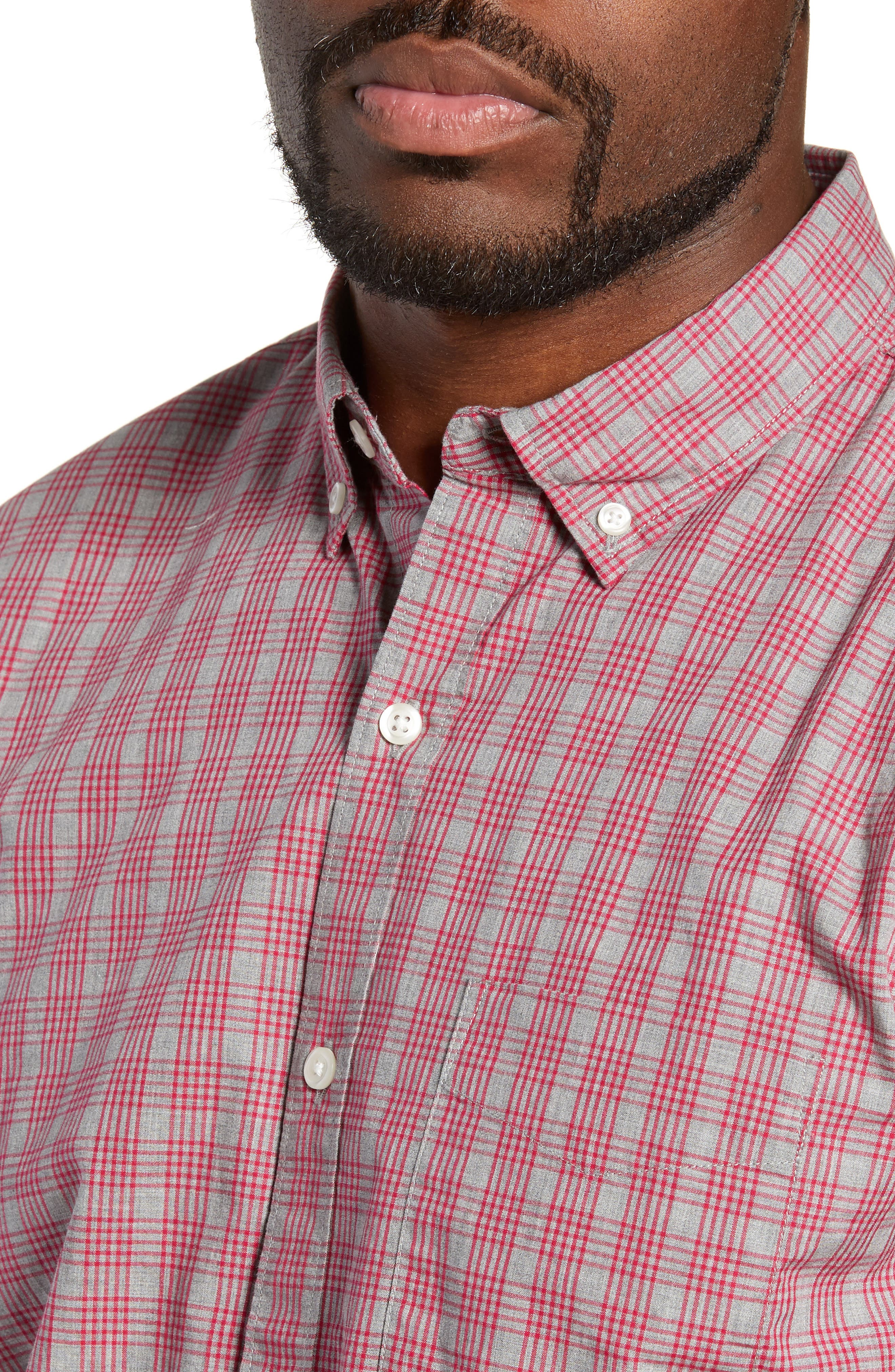 Washed Button Down Slim Fit Check Sport Shirt,                             Alternate thumbnail 2, color,                             MATTHEW CHECK - CERISE