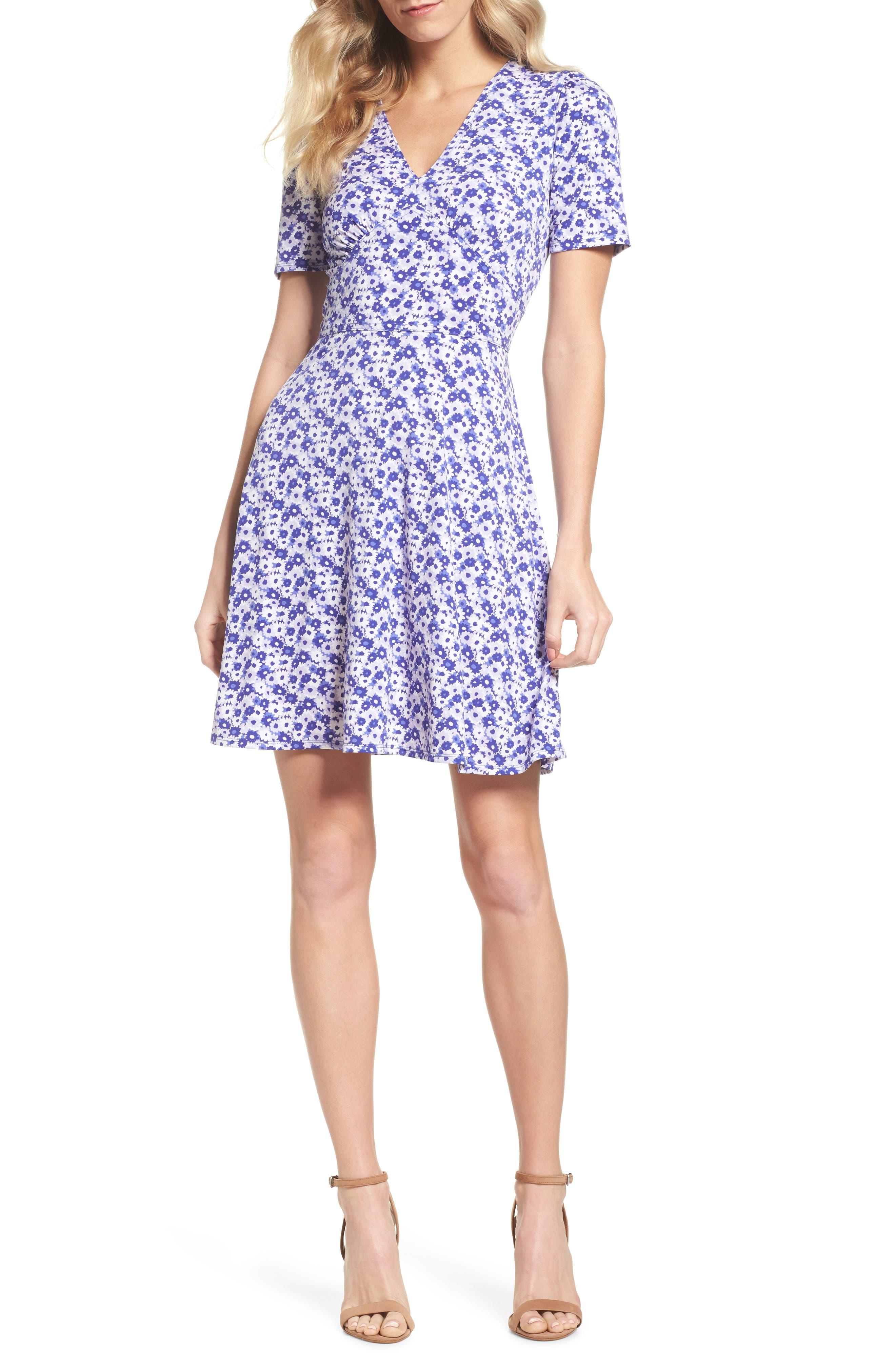 Floral Fit & Flare Dress,                             Main thumbnail 1, color,                             580