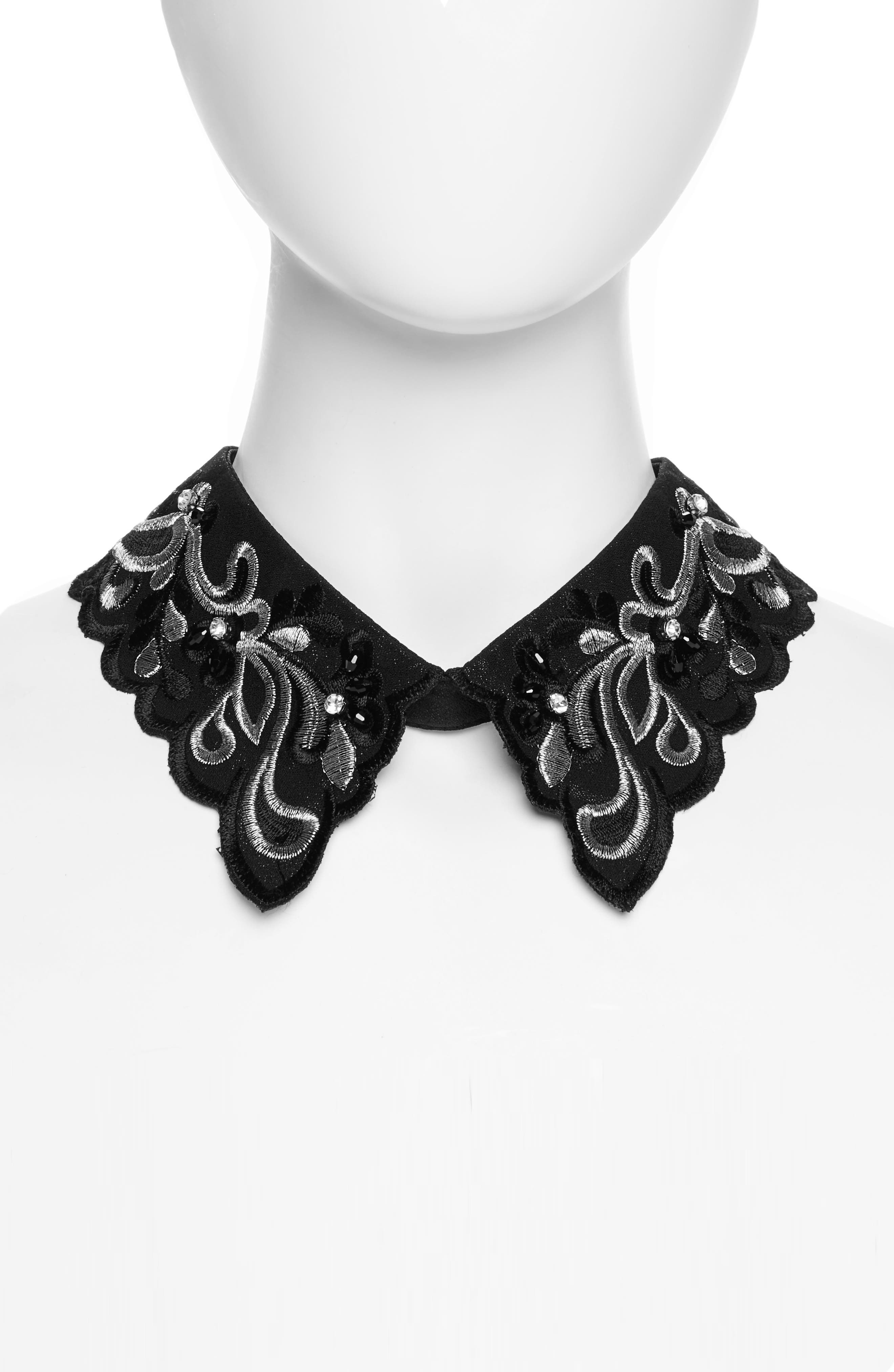 Scalloped Embroidered Collar,                             Alternate thumbnail 2, color,
