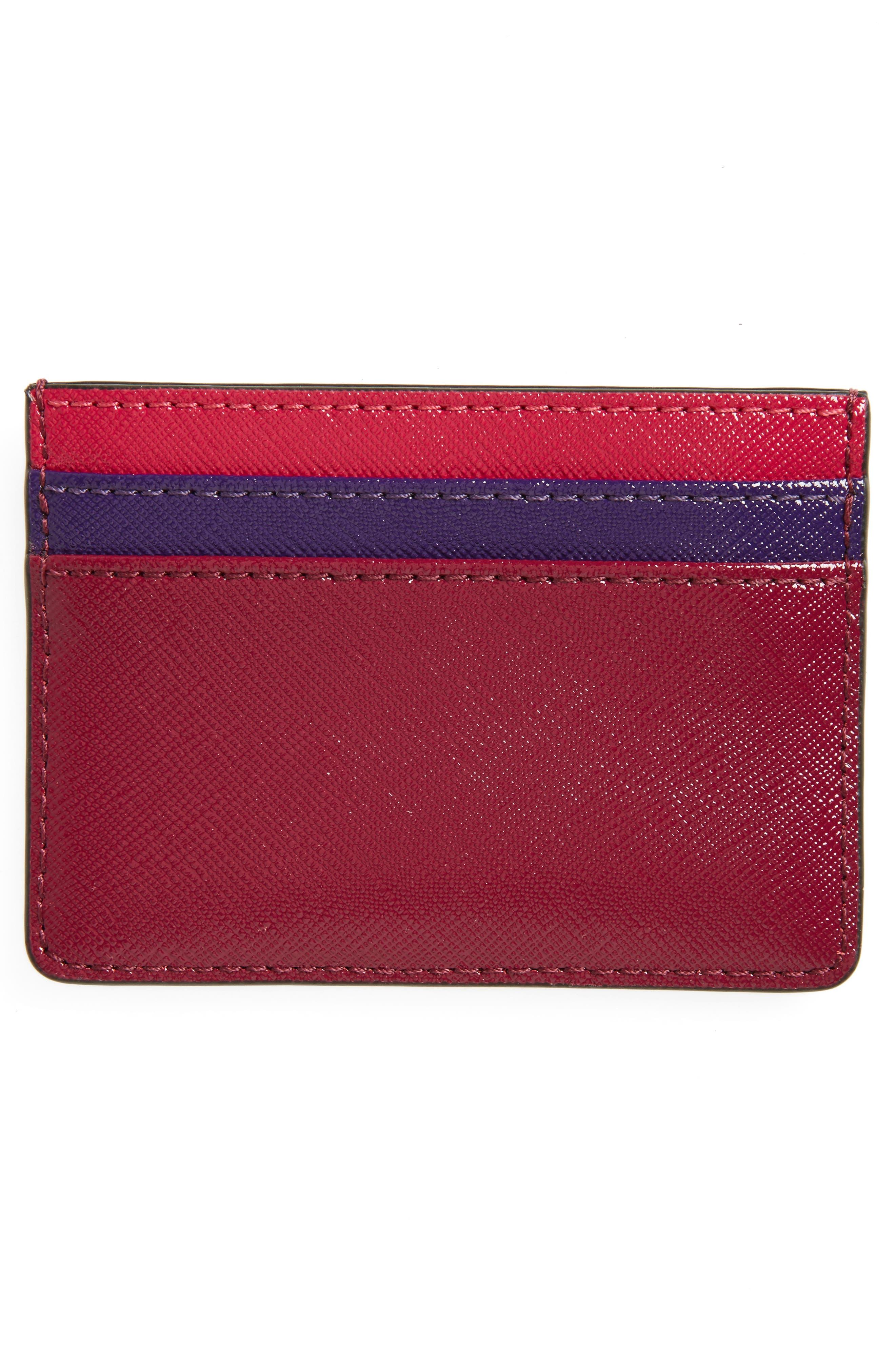 Color Block Saffiano Leather Card Case,                             Alternate thumbnail 9, color,