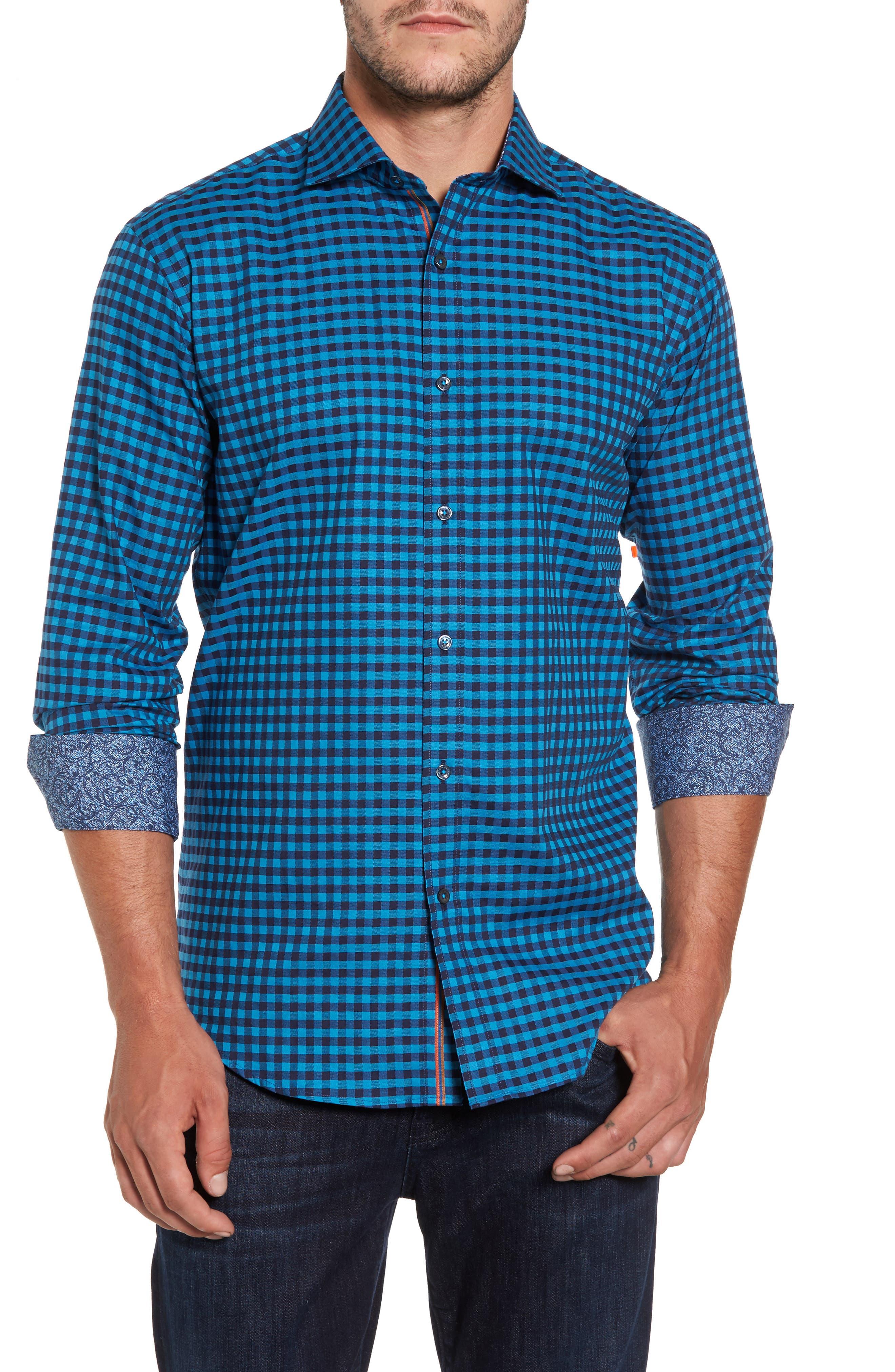 Shaped Fit Check Sport Shirt,                             Main thumbnail 1, color,                             445