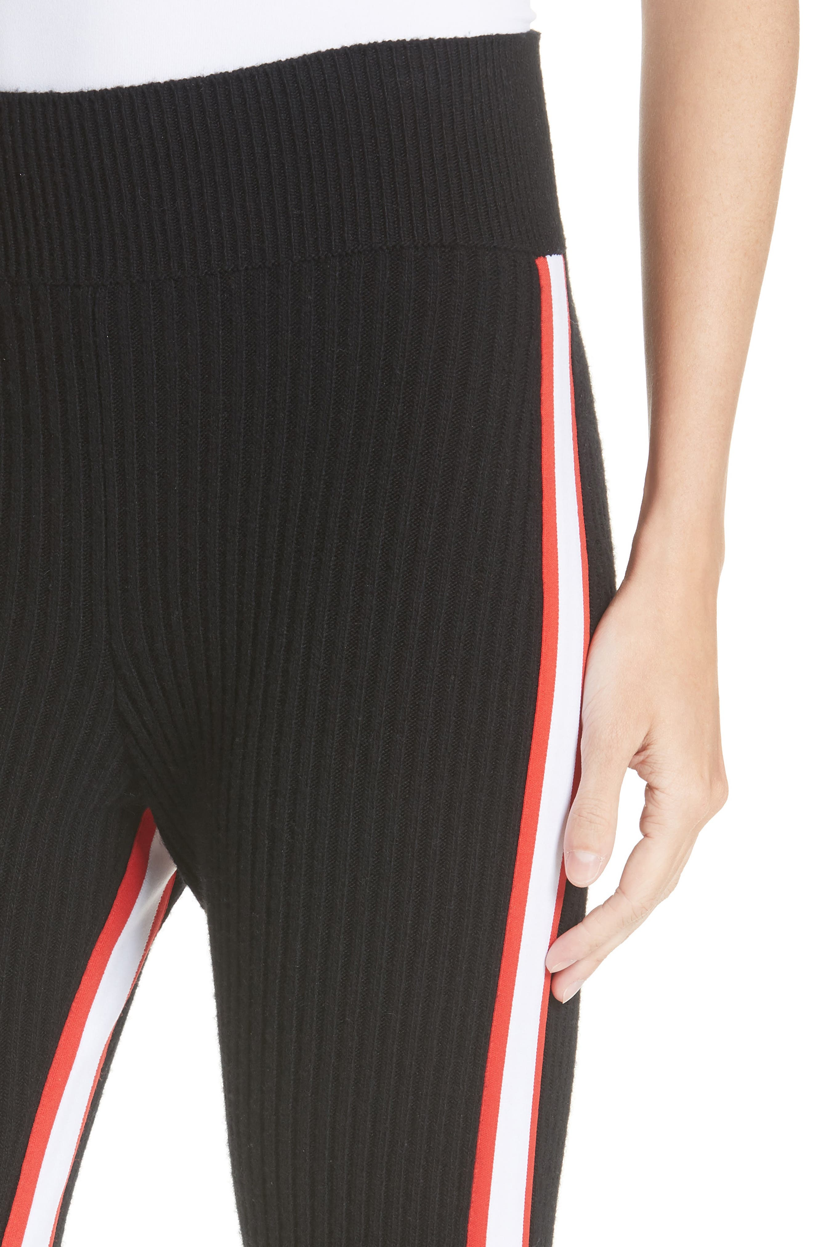 CALVIN KLEIN 205W39NYC,                             Side Stripe Stretch Wool Stirrup Leggings,                             Alternate thumbnail 4, color,                             001