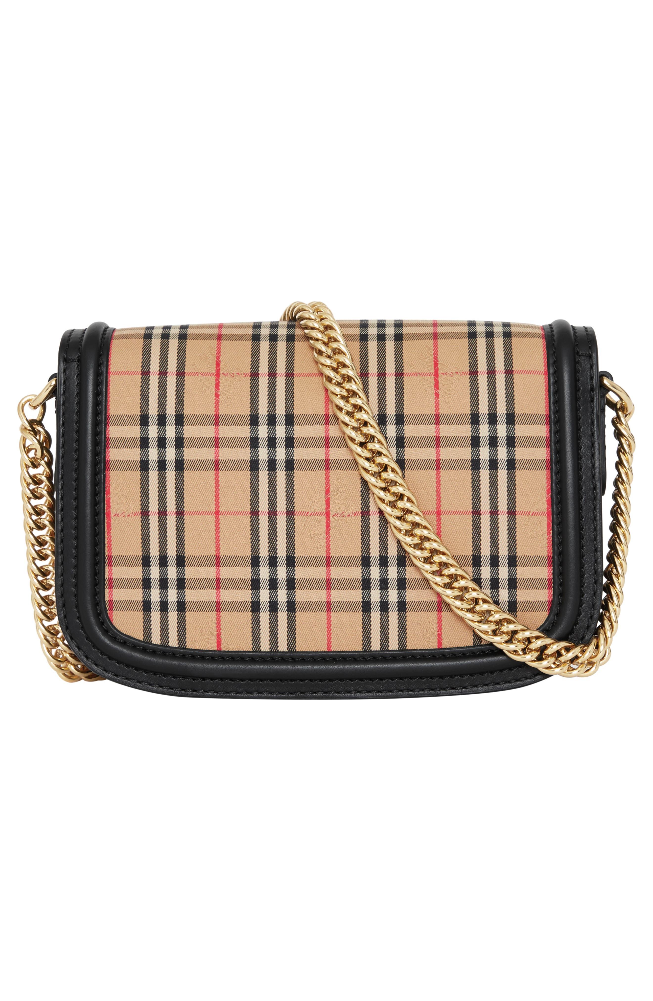 Vintage Check Link Flap Crossbody Bag,                             Alternate thumbnail 3, color,                             BLACK