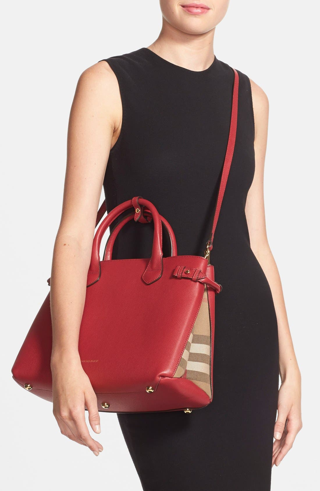 Medium Banner Leather Tote,                             Alternate thumbnail 4, color,                             RUSSET RED