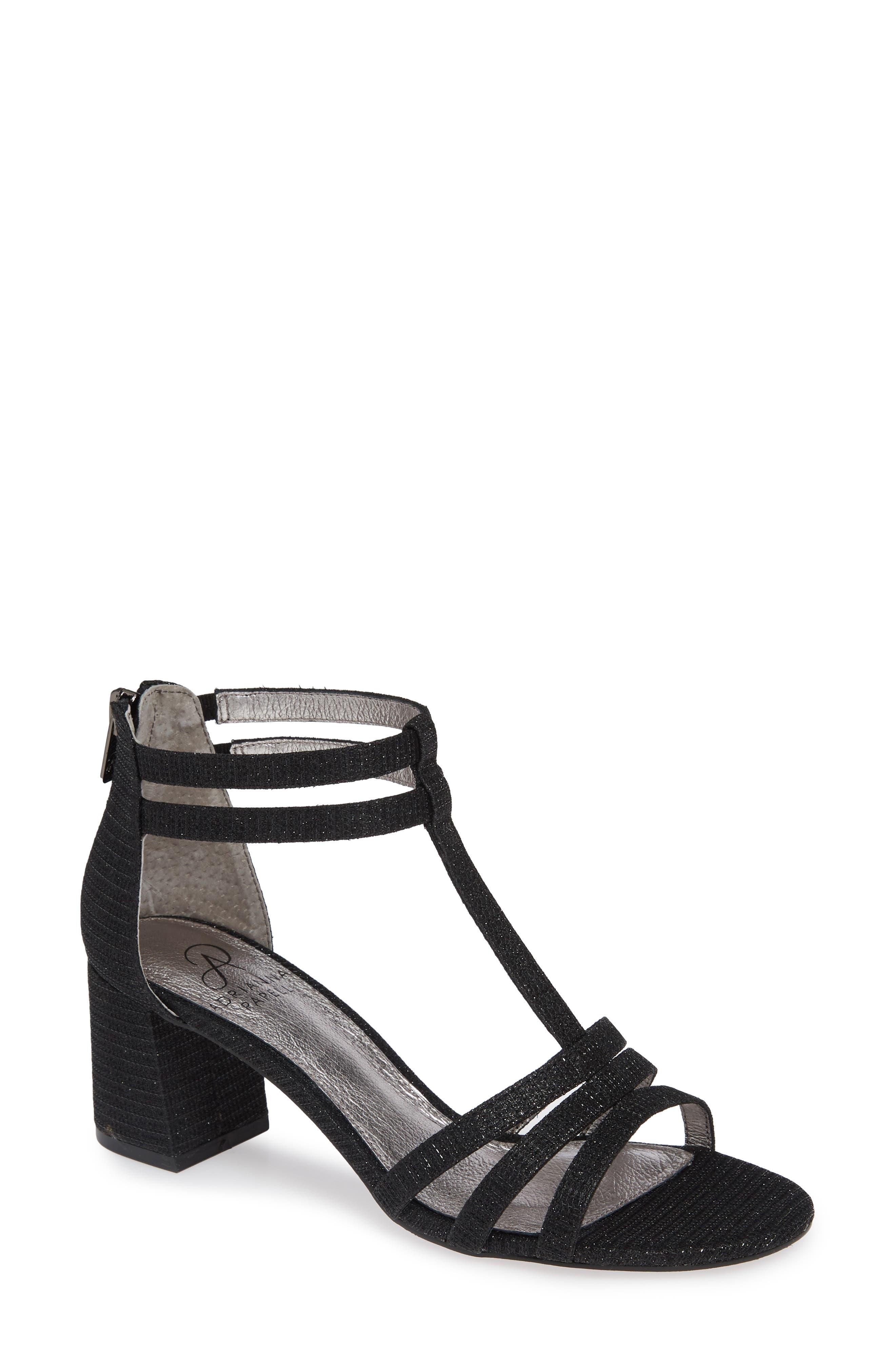 Anella Block Heel Sandal,                         Main,                         color, BLACK GLITTER