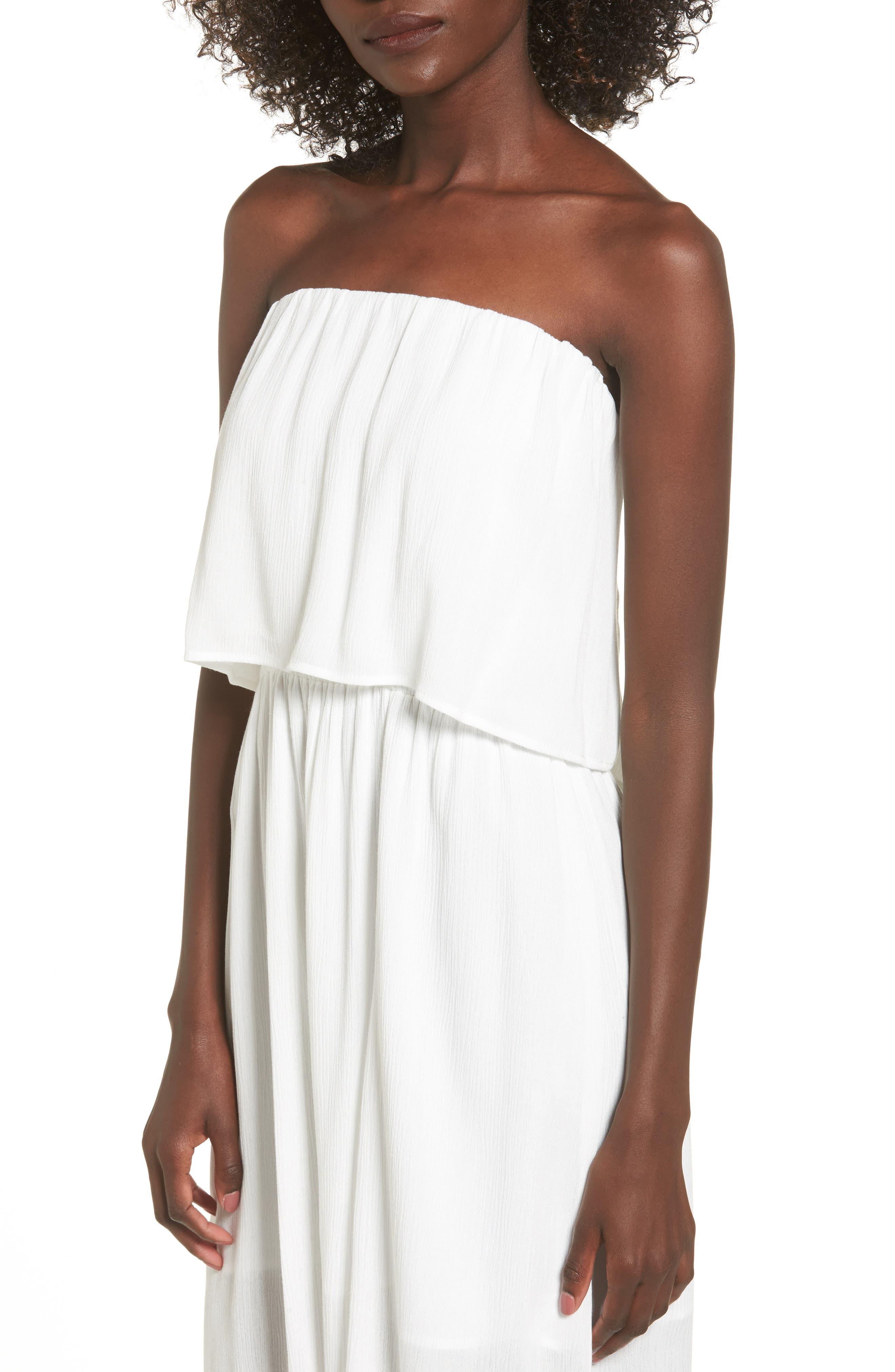 Kizzie Strapless Midi Dress,                             Alternate thumbnail 4, color,