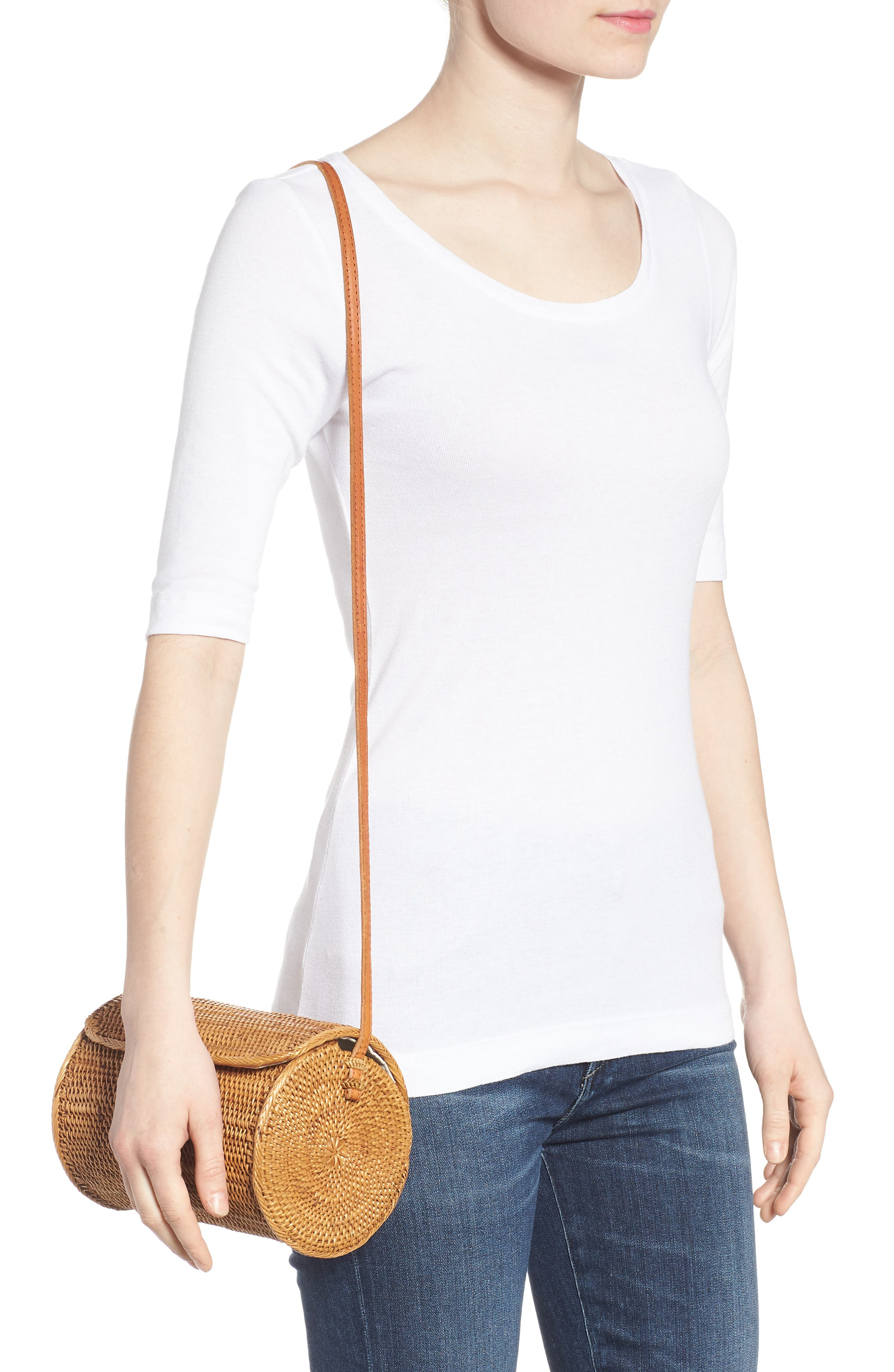 Cylinder Woven Crossbody Bag,                             Alternate thumbnail 2, color,                             230