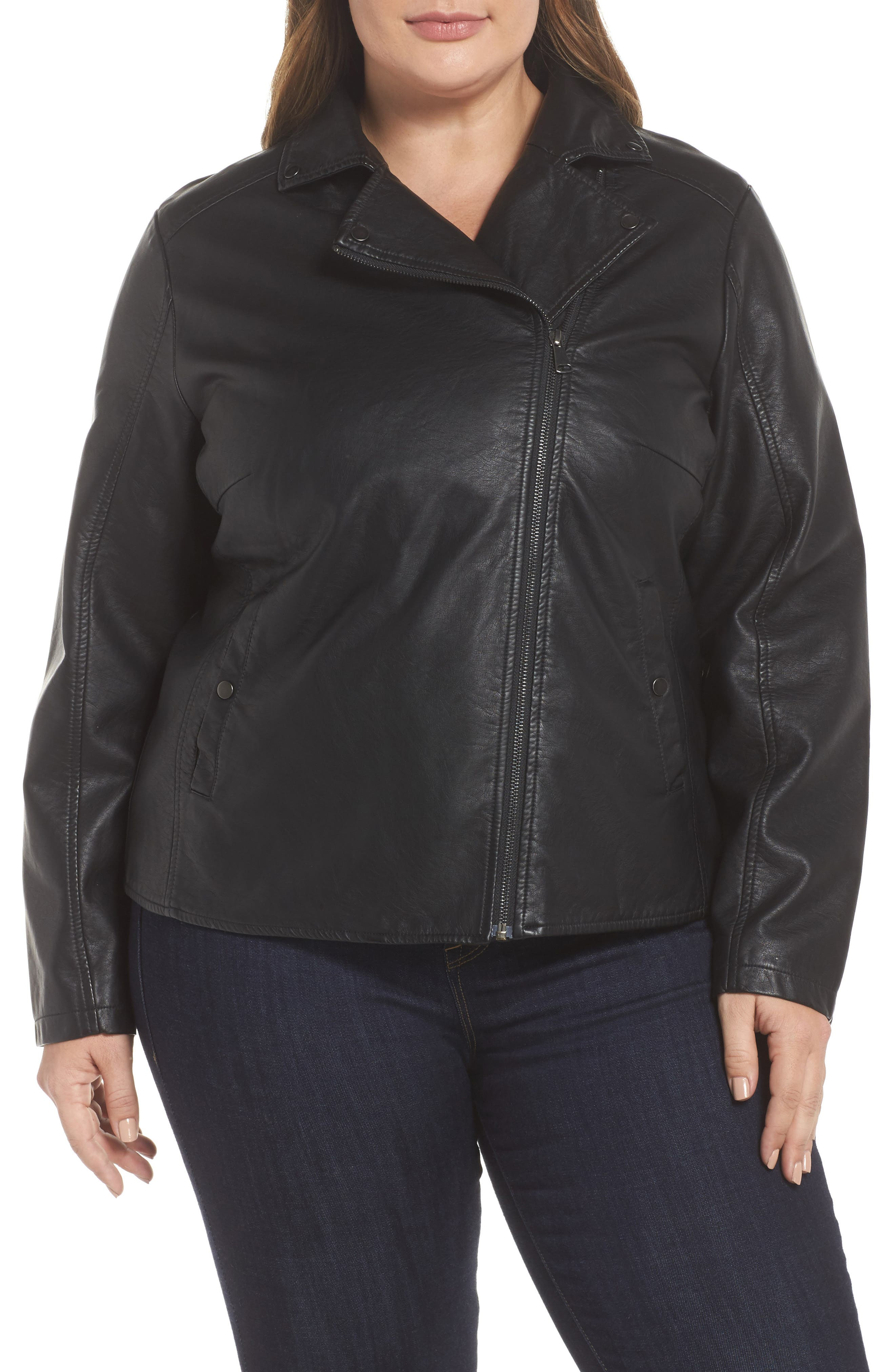 Karisa Faux Leather Moto Jacket,                             Alternate thumbnail 4, color,                             002