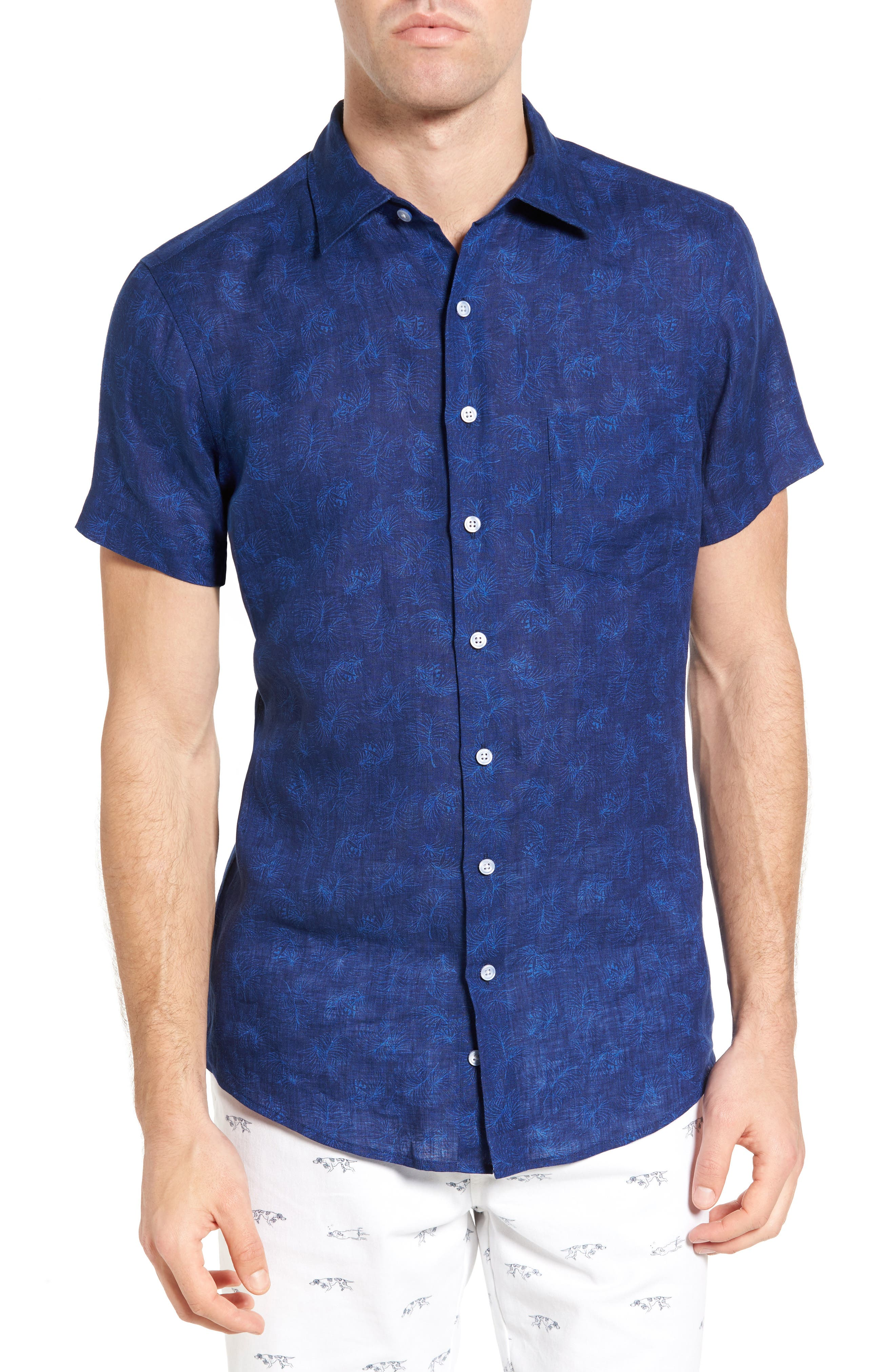 Hampton Downs Sports Fit Linen Sport Shirt,                         Main,                         color, 423