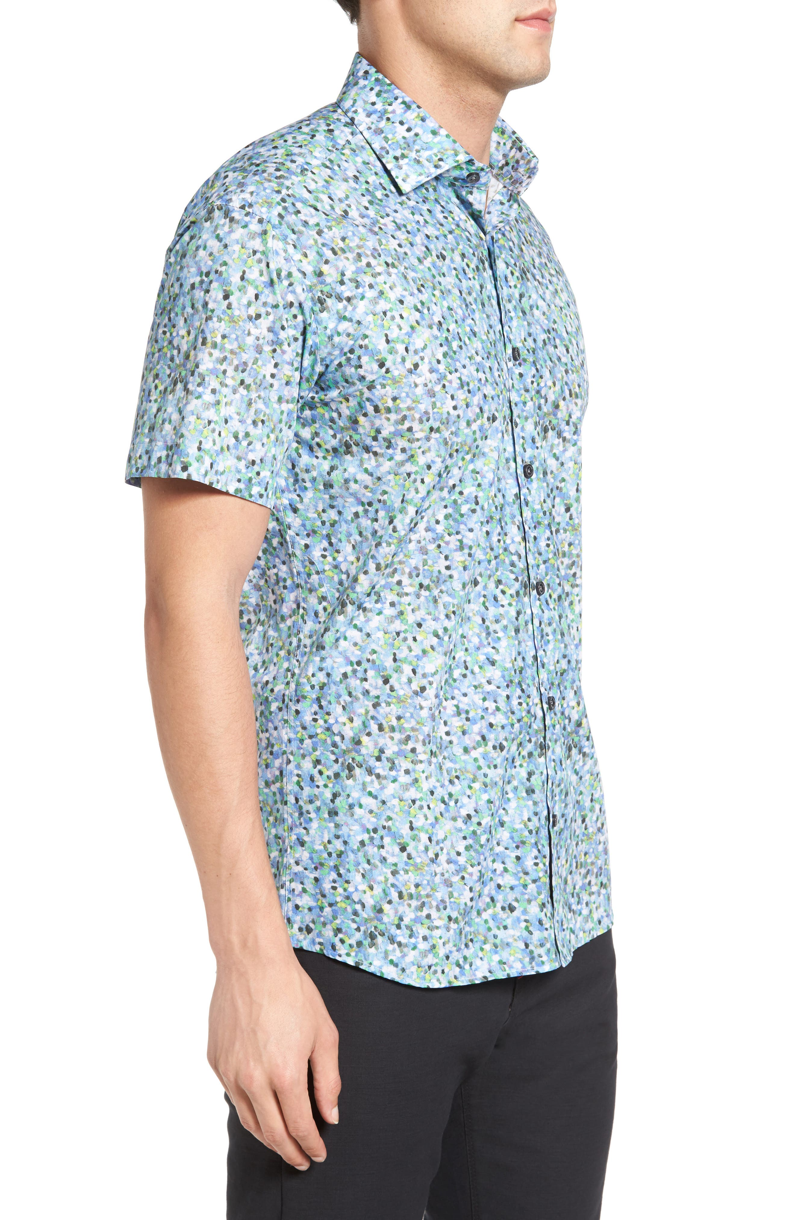 Trim Fit Print Sport Shirt,                             Alternate thumbnail 3, color,                             400