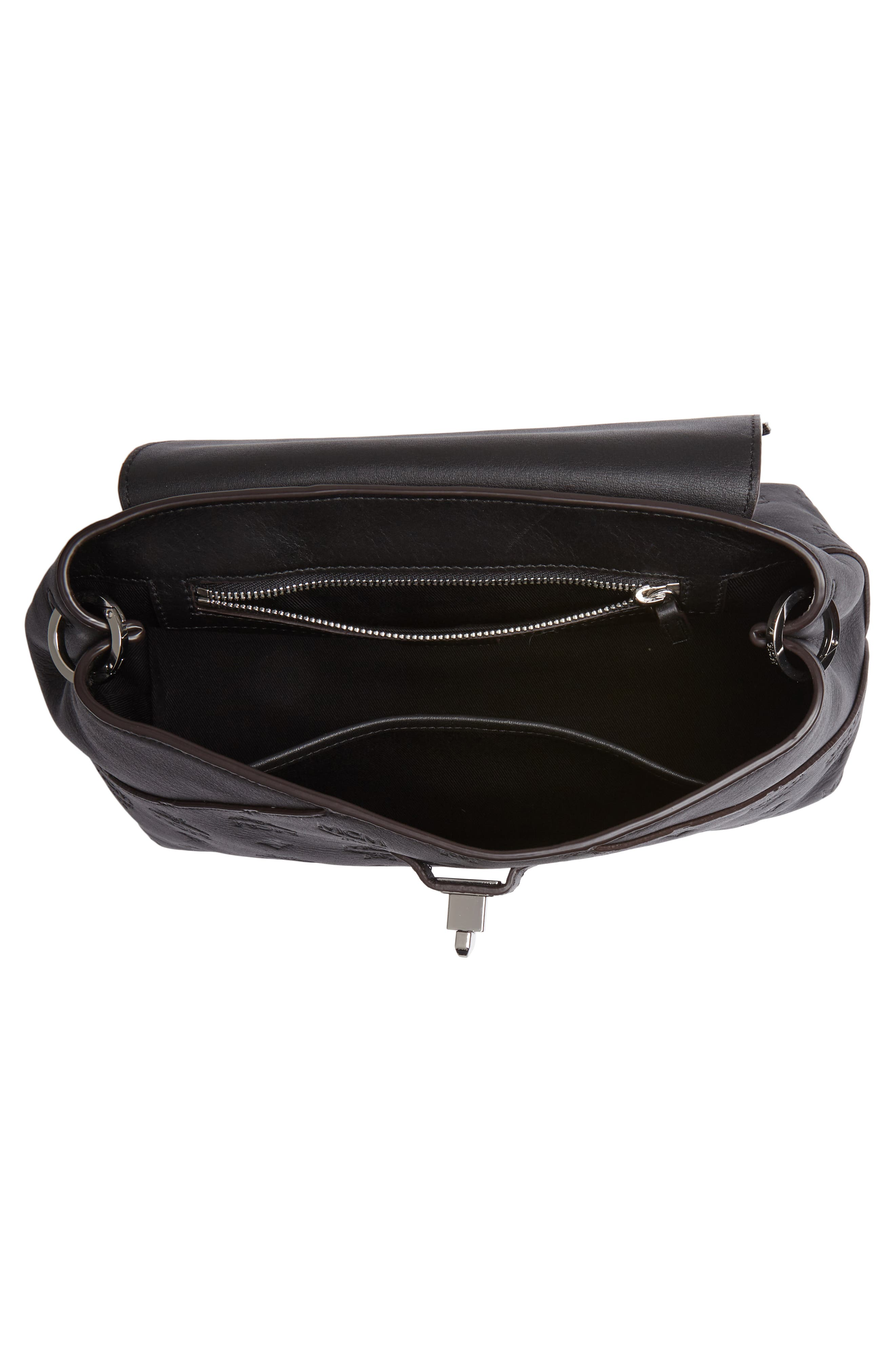 MCM,                             Essentials Monogram Leather Small Crossbody Bag,                             Alternate thumbnail 5, color,                             BLACK