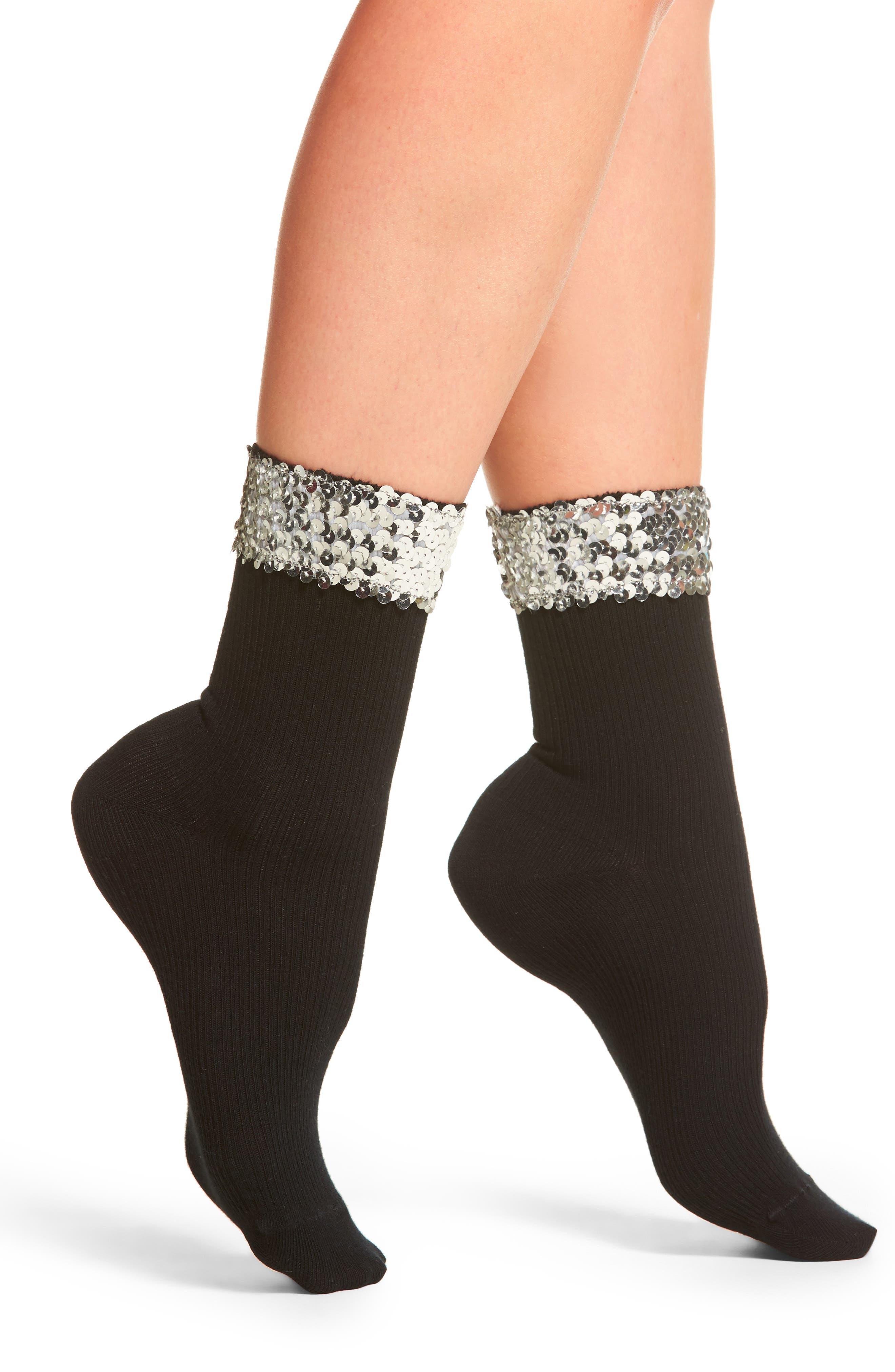 Sequin Cuff Crew Socks,                         Main,                         color,