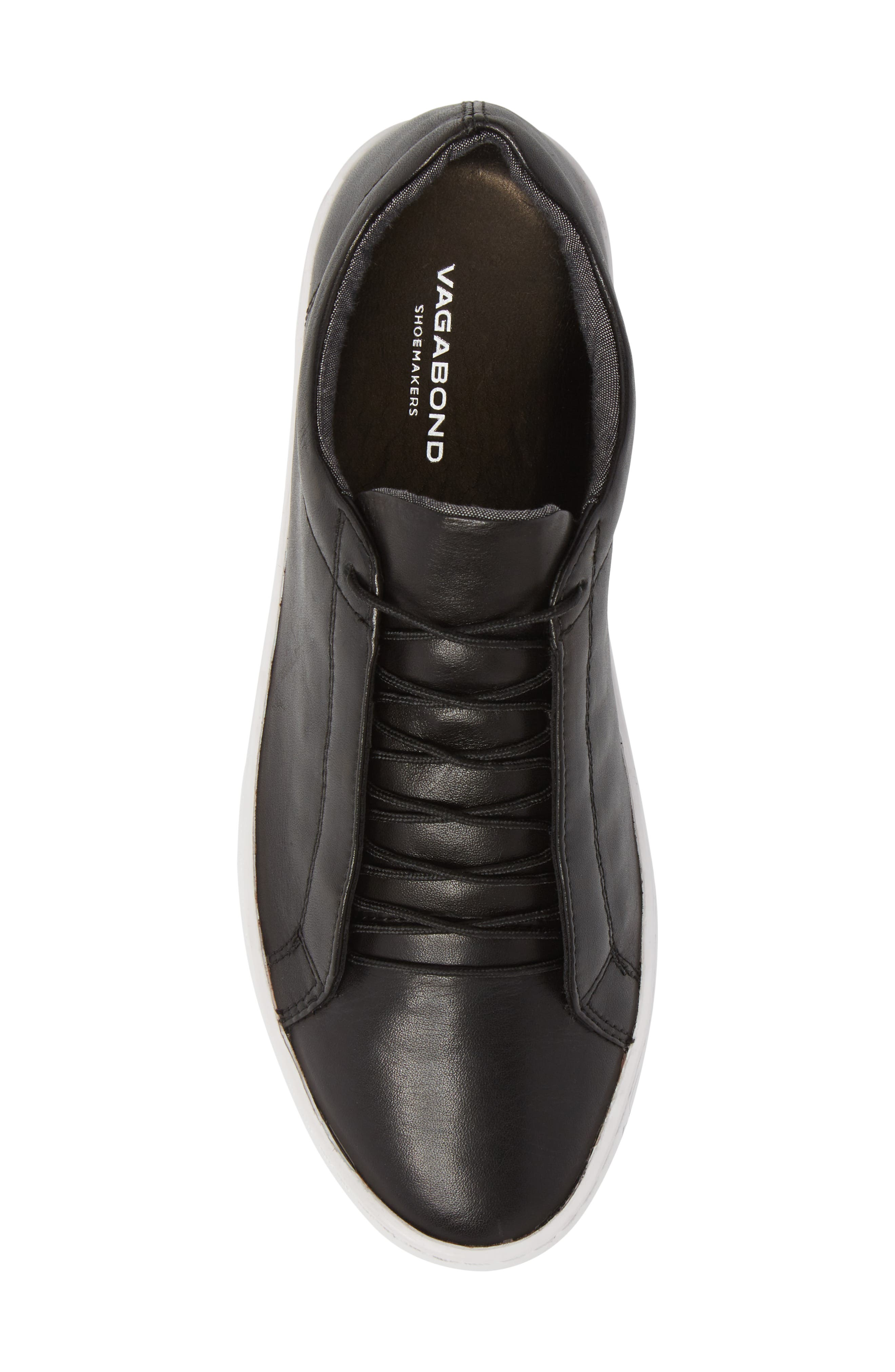 Zoe Sneaker,                             Alternate thumbnail 5, color,                             BLACK LEATHER
