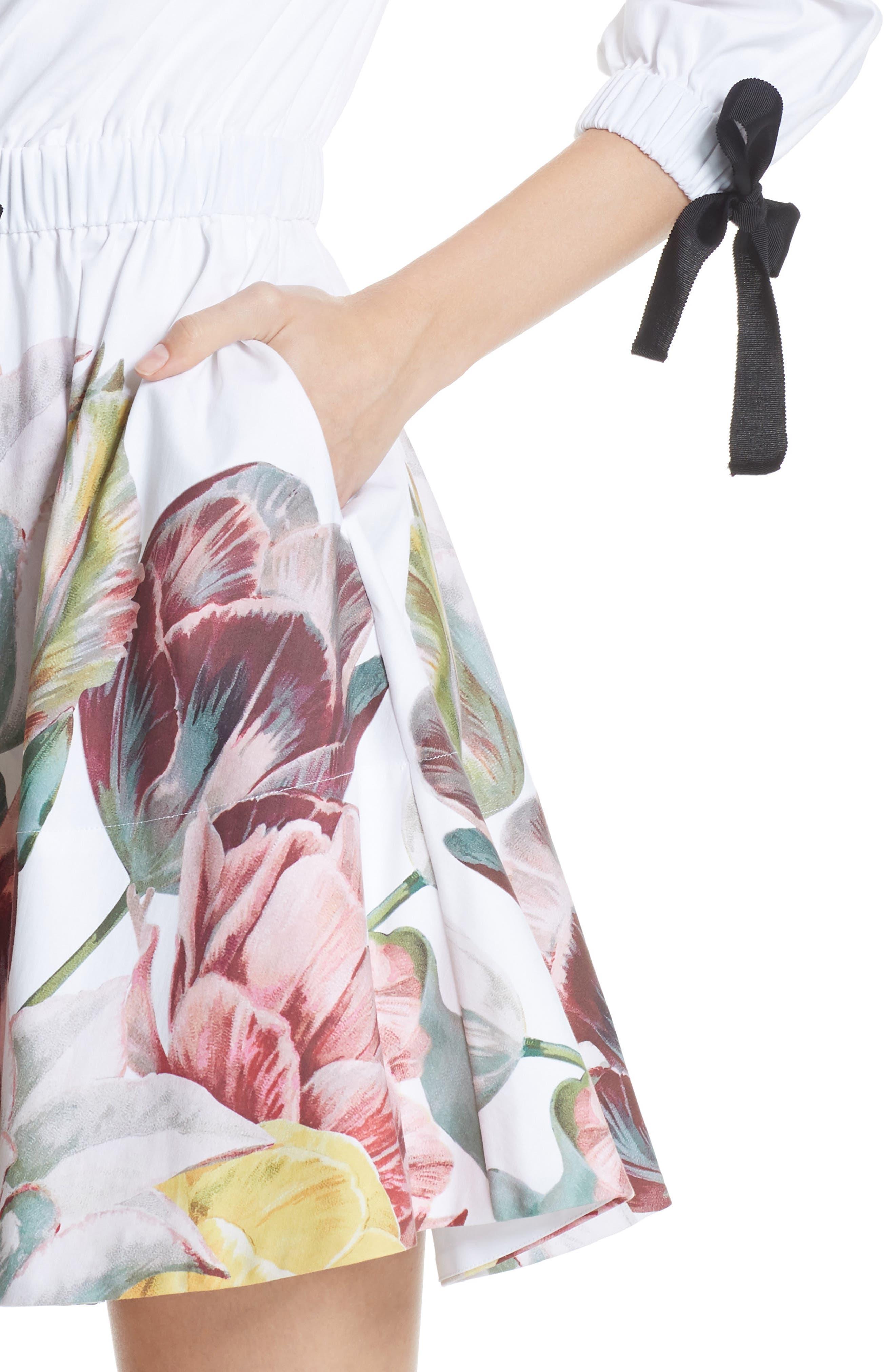 Tranquility Stretch Cotton Dress,                             Alternate thumbnail 4, color,                             110