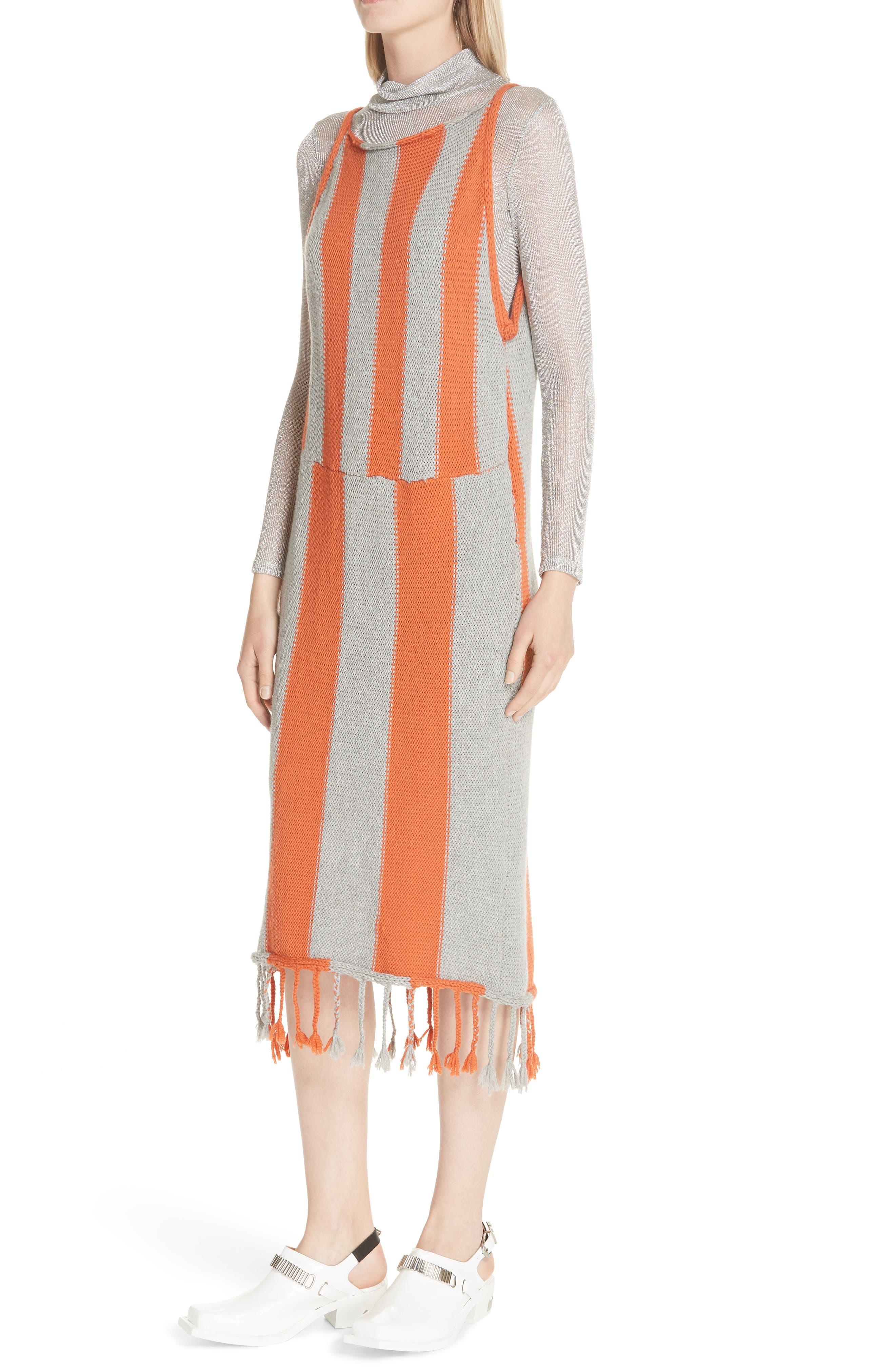 Stripe Tassel Hem Sweater Dress,                             Alternate thumbnail 4, color,                             GROG - GREY ORANGE