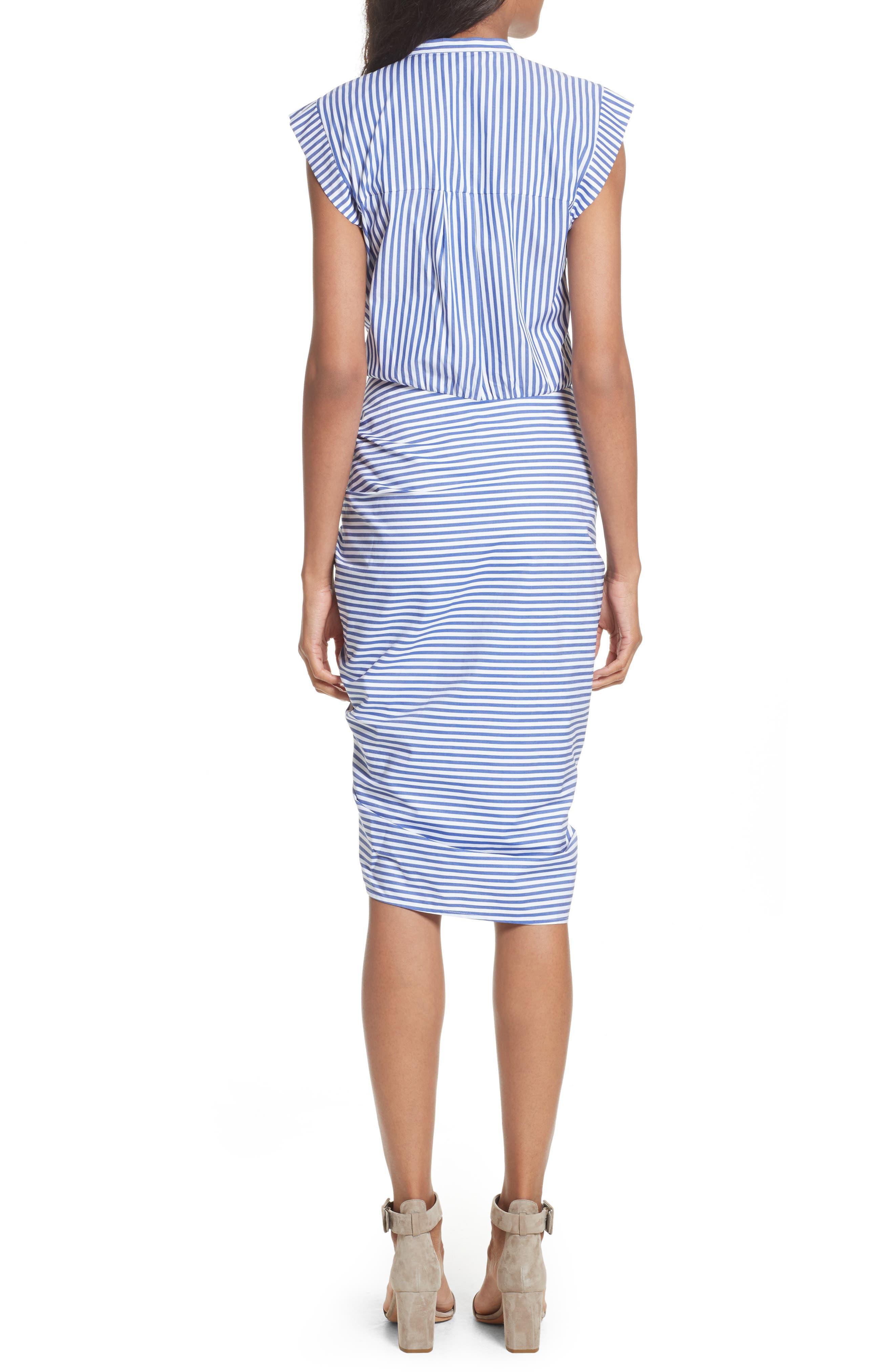 Ruched Stripe Shirtdress,                             Alternate thumbnail 2, color,                             BLUE/WHITE STRIPE