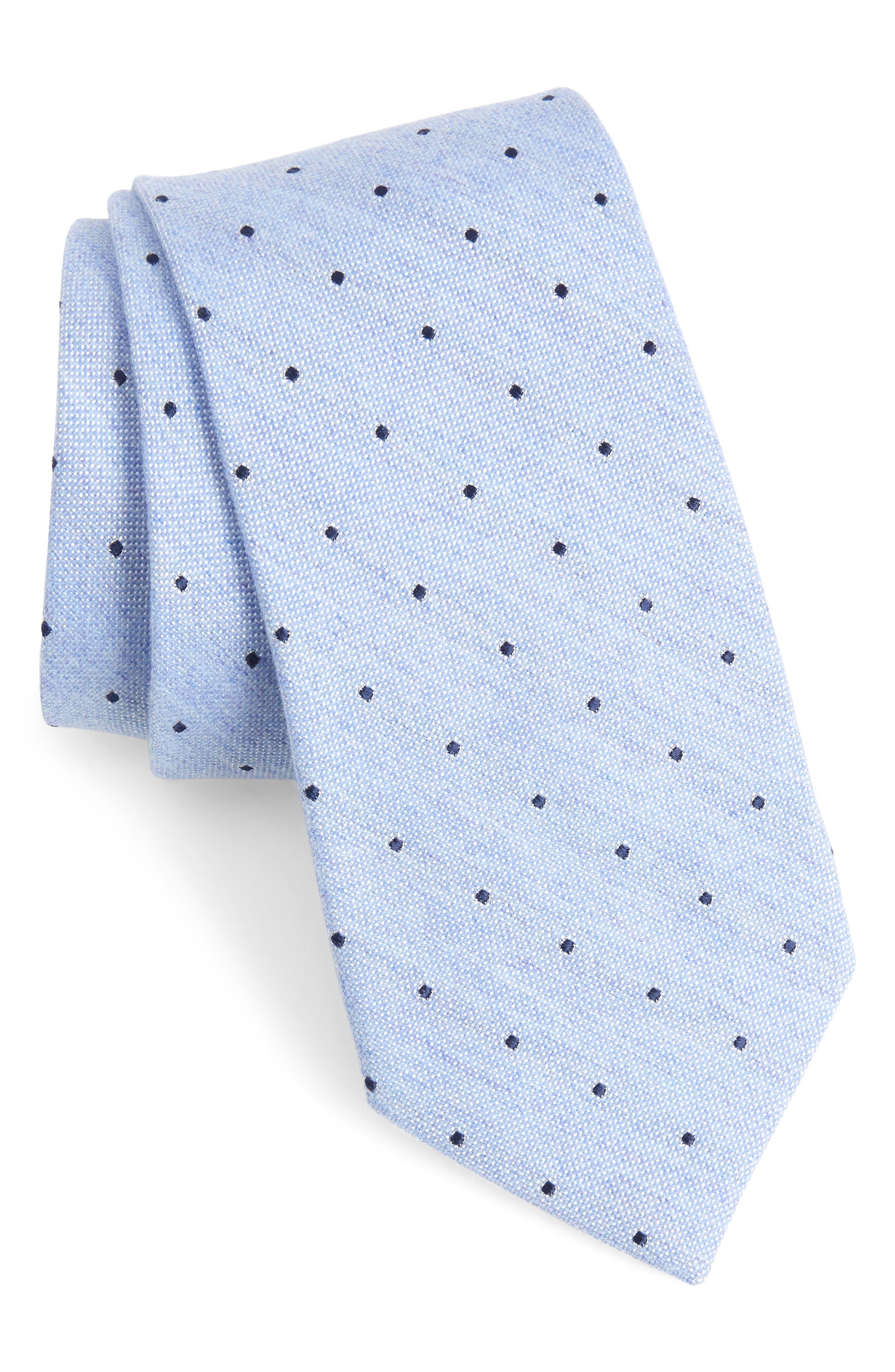 Horizon Dot Wool Blend Tie,                             Main thumbnail 1, color,                             BLUE