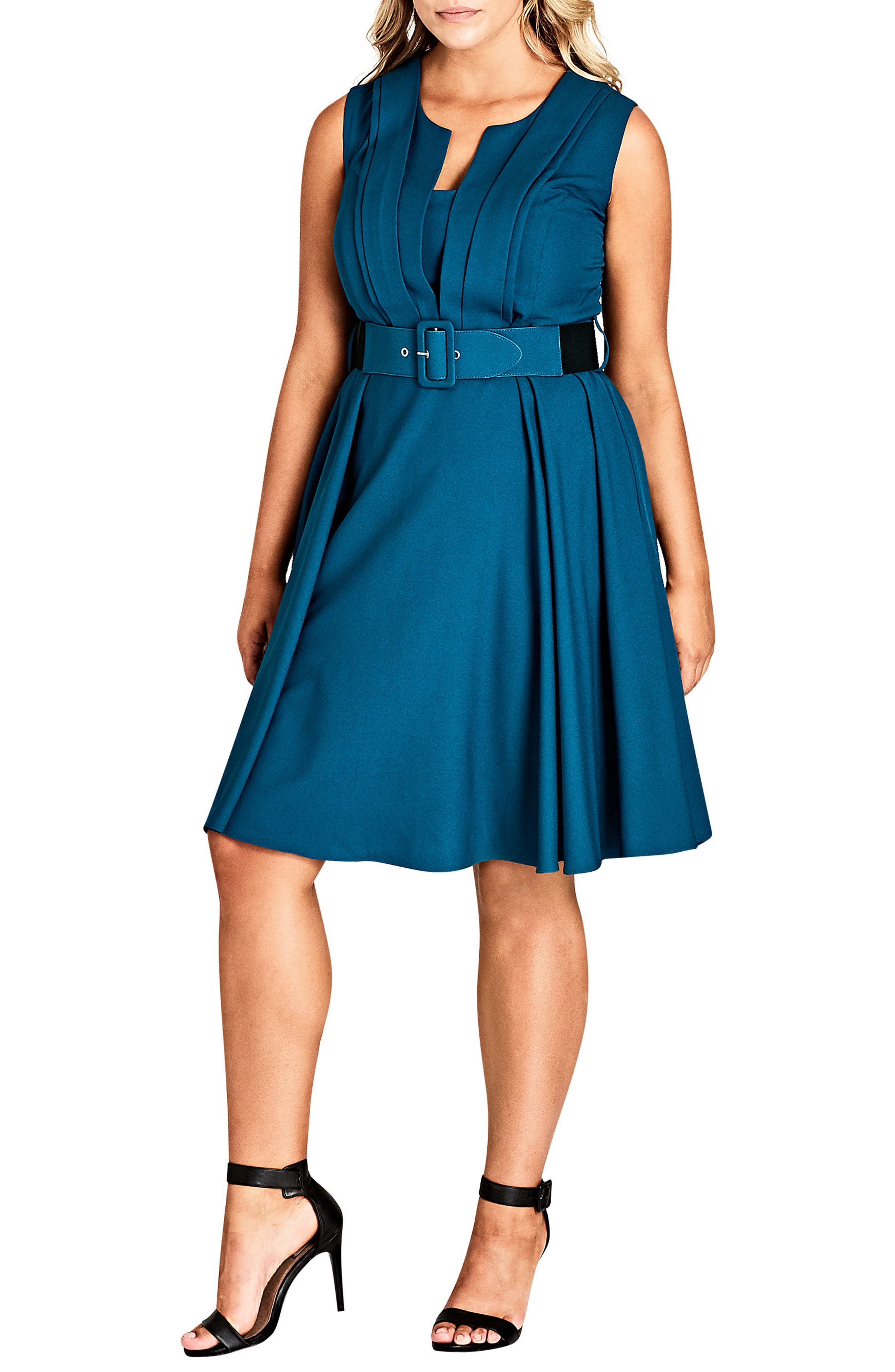 Vintage Veronica Belted Pleat Fit & Flare Dress,                             Main thumbnail 1, color,                             TEAL