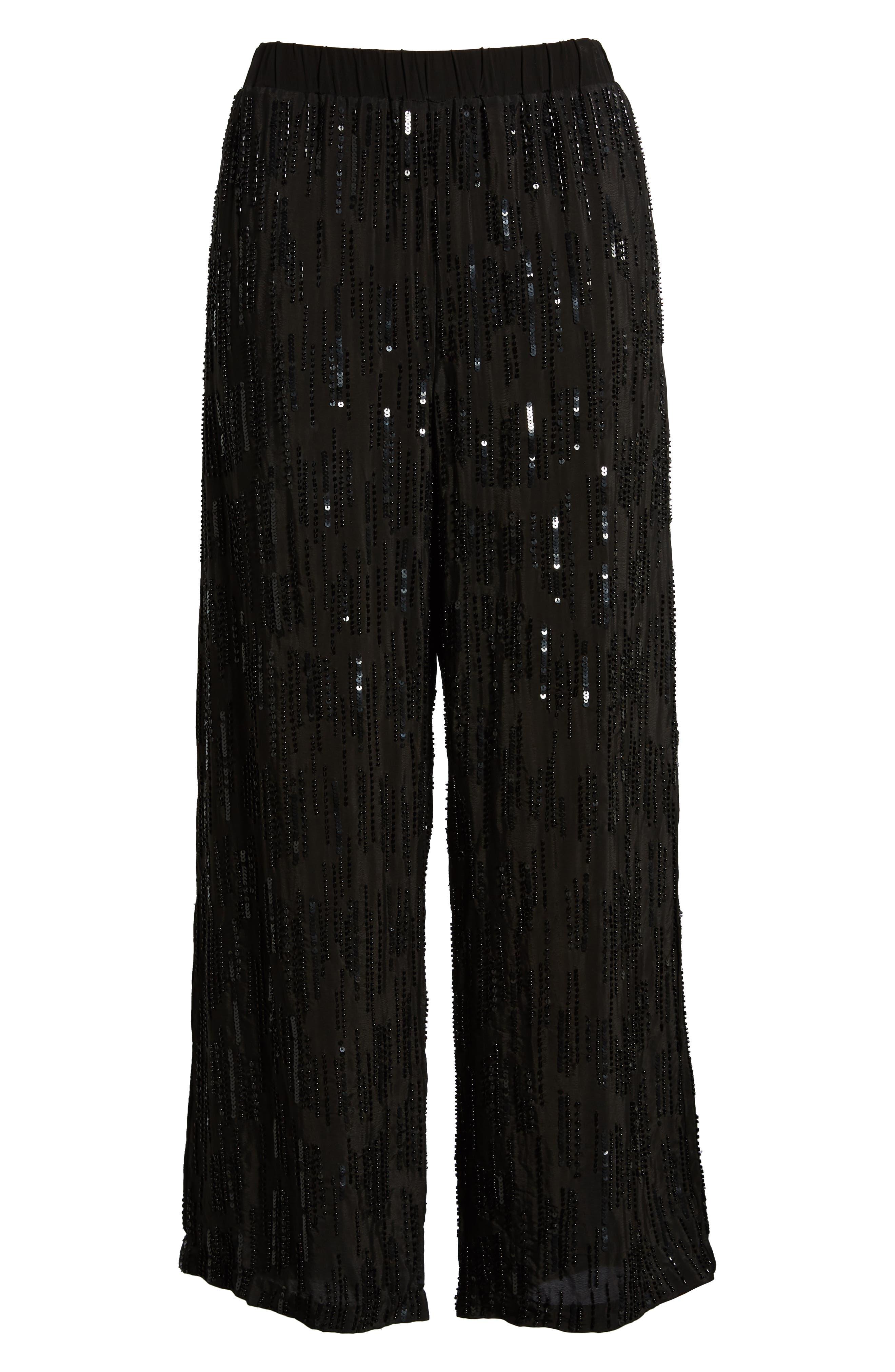 Raindrop Sequin Pants,                             Alternate thumbnail 6, color,                             BLACK