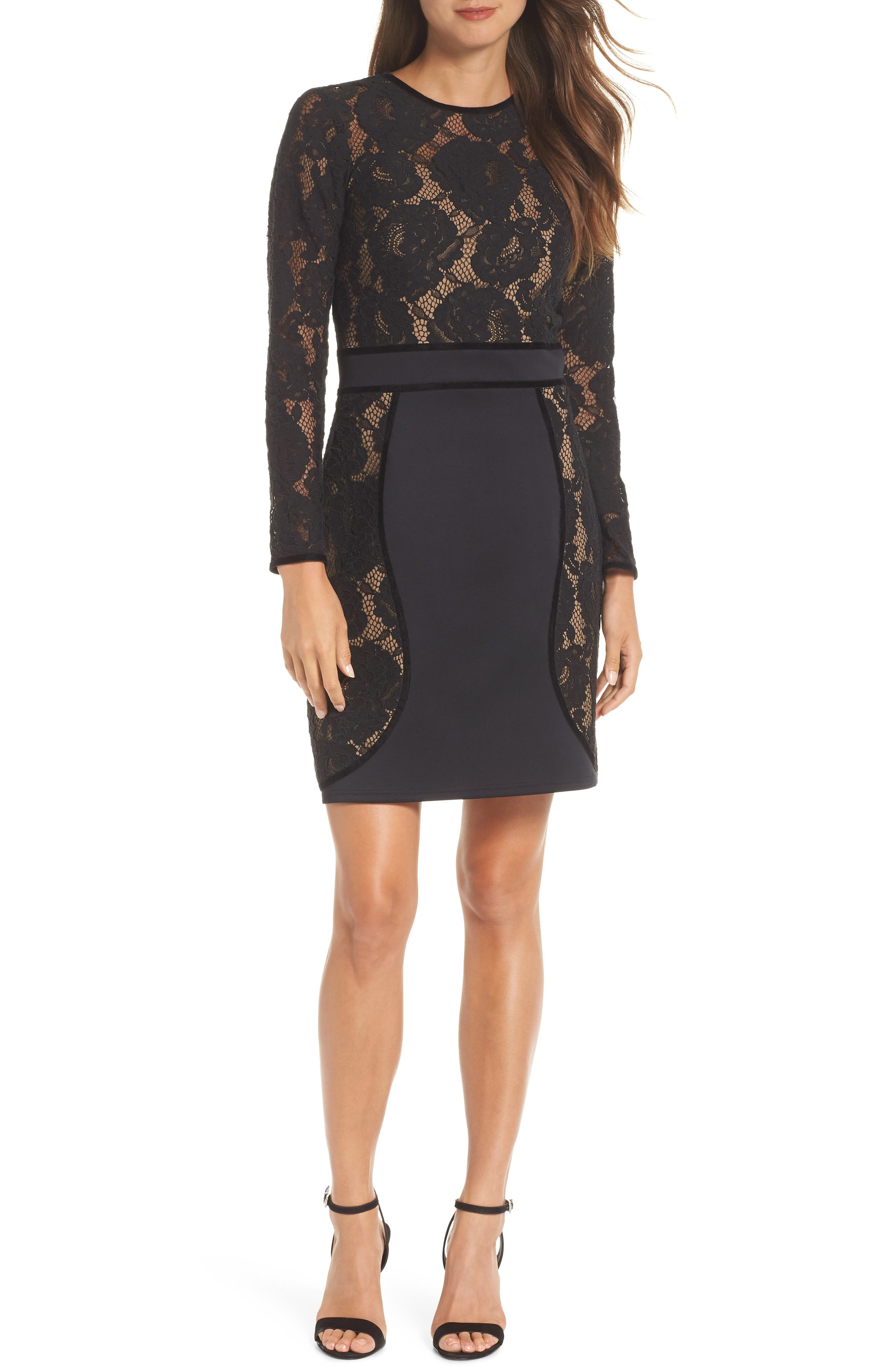 Embroidered Lace Dress,                             Main thumbnail 1, color,                             BLACK/ NUDE
