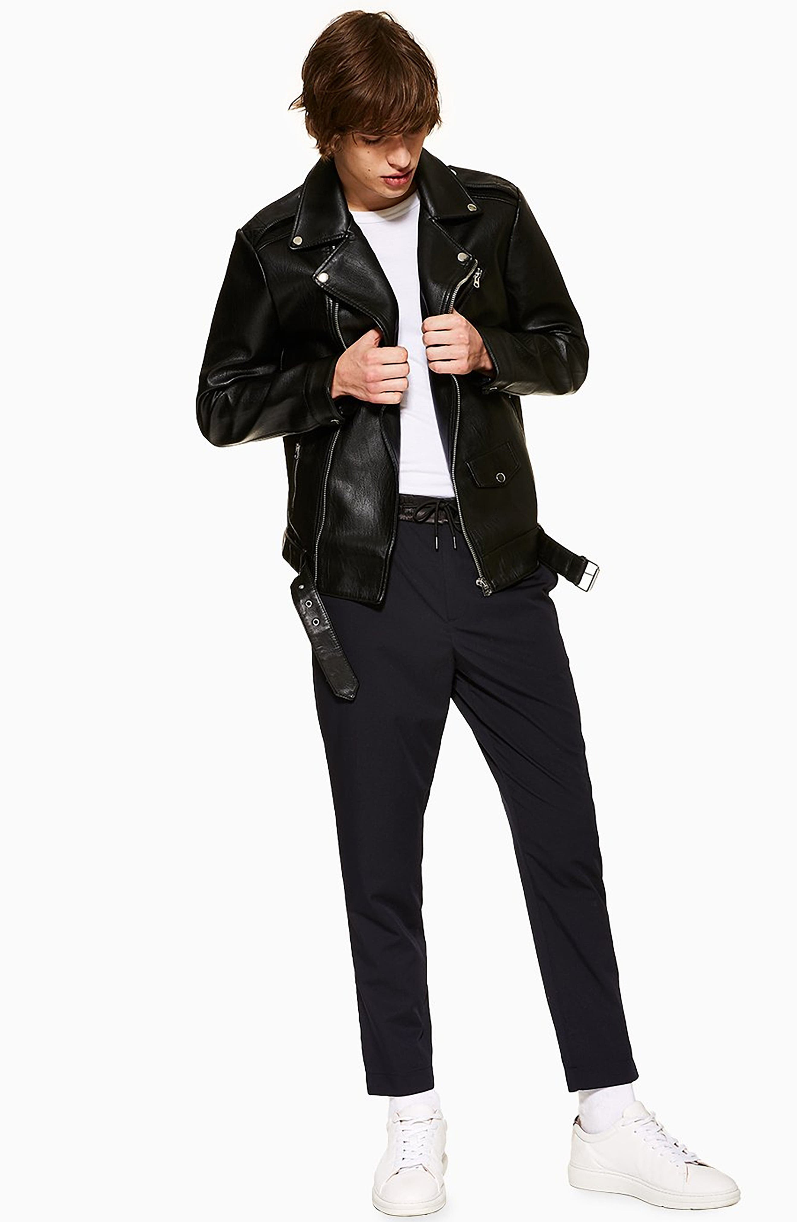 TOPMAN,                             Relaxed Cropped Trousers,                             Alternate thumbnail 5, color,                             NAVY BLUE