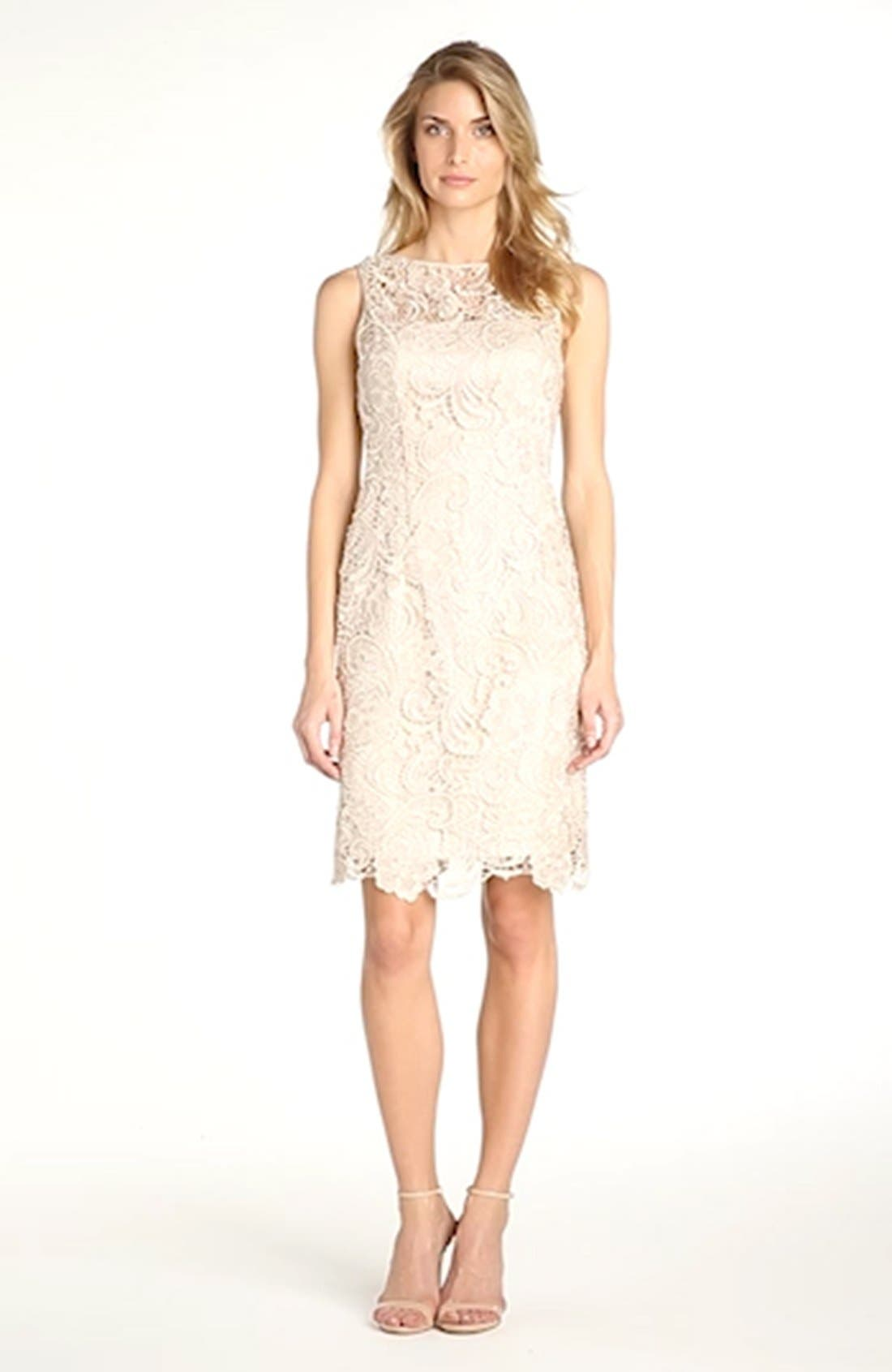 Illusion Bodice Lace Sheath Dress,                             Alternate thumbnail 41, color,