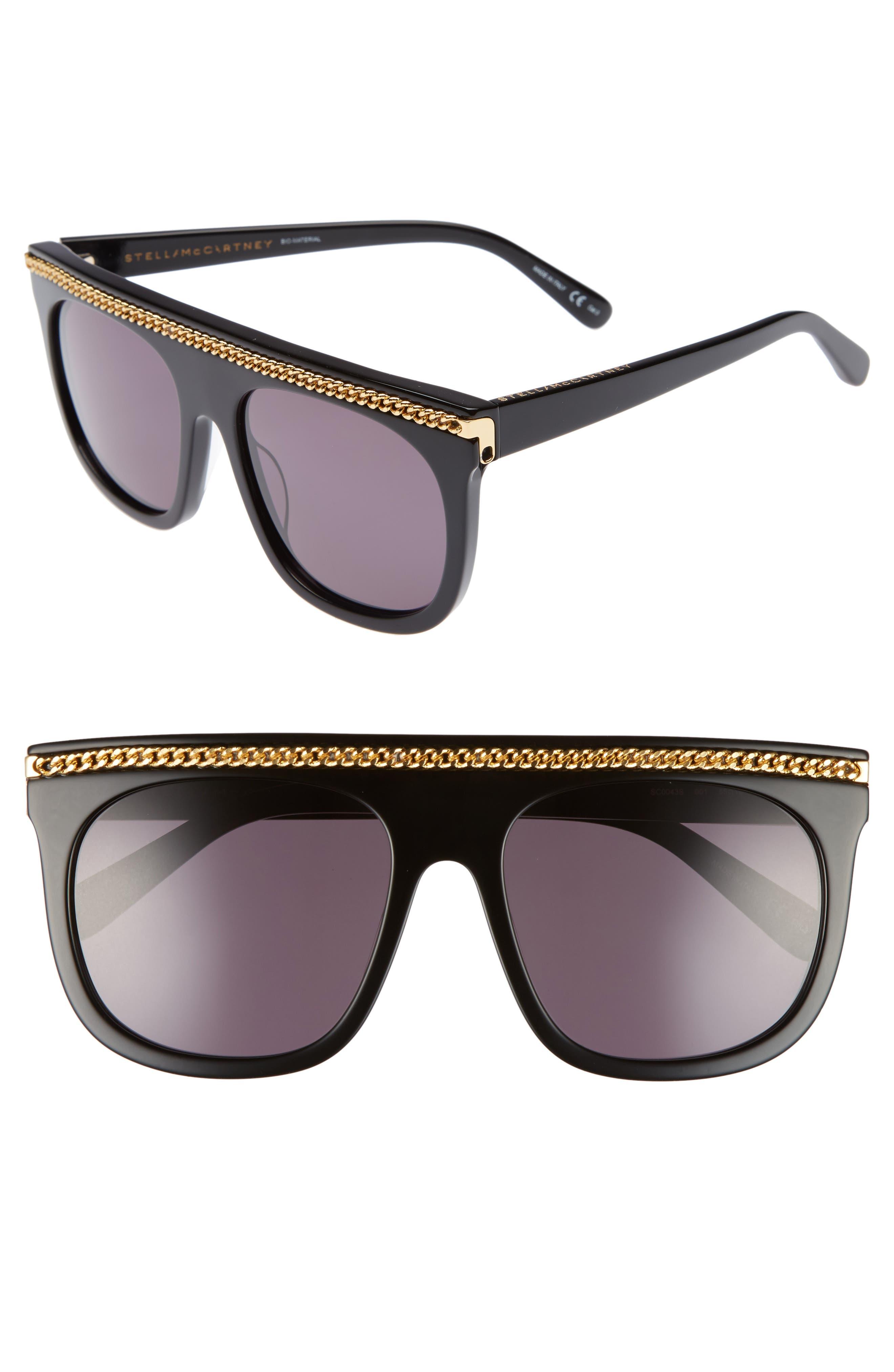 55mm Flat Top Sunglasses,                             Main thumbnail 1, color,                             001