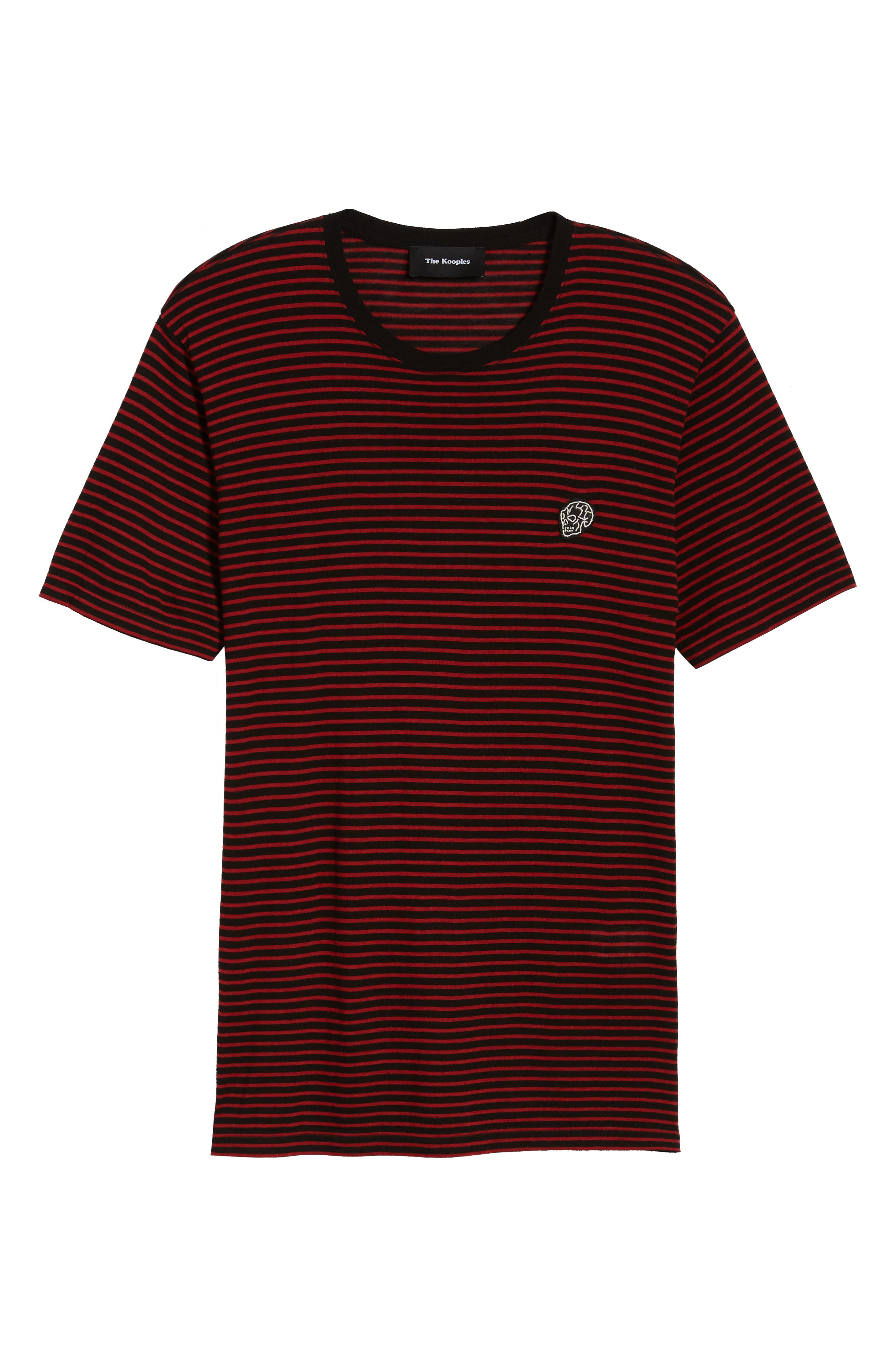 Skull Appliqué Striped Wool Blend T-Shirt,                             Alternate thumbnail 6, color,                             001