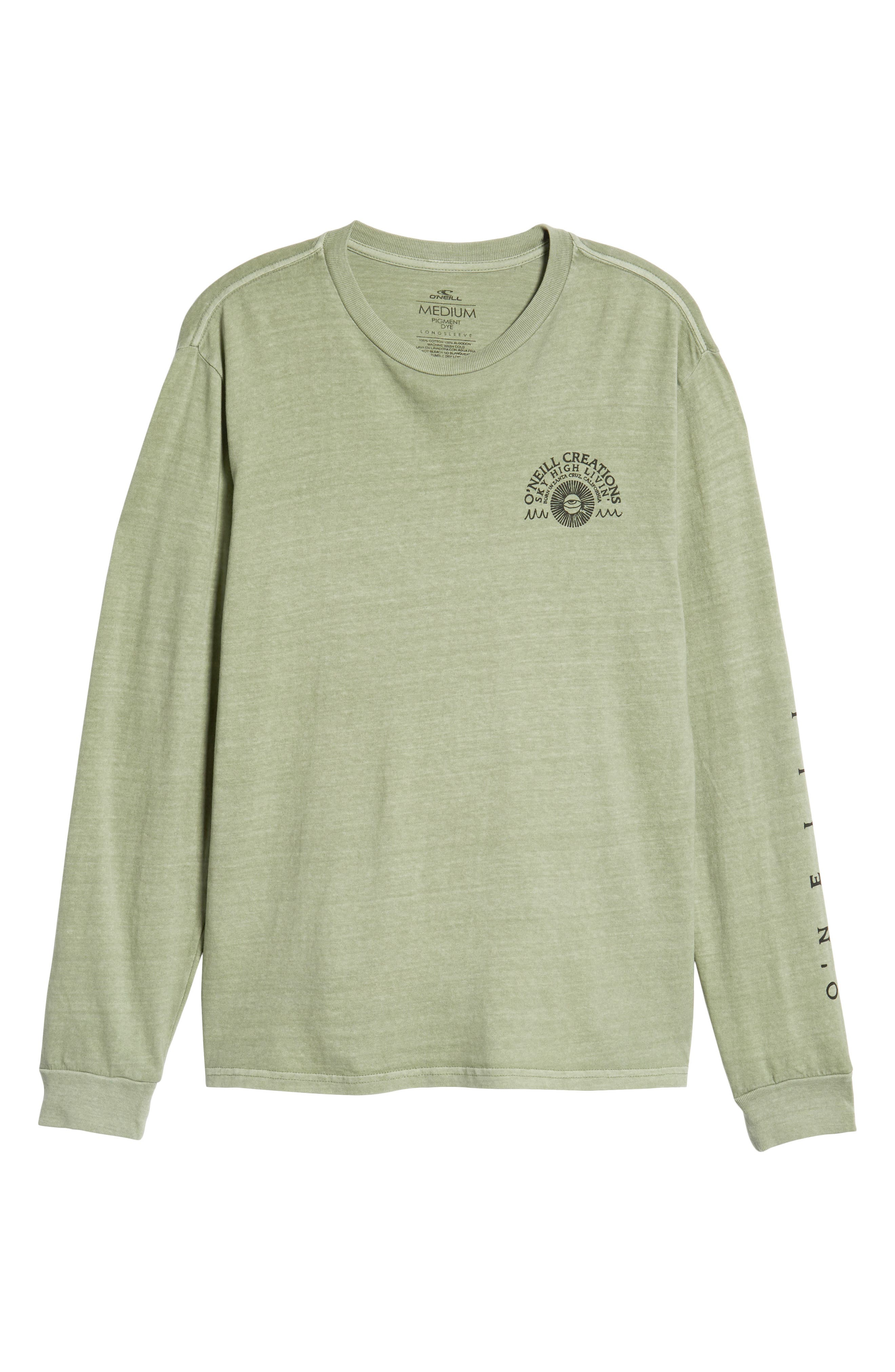Sky High Graphic Long Sleeve T-Shirt,                             Alternate thumbnail 5, color,                             SAGE