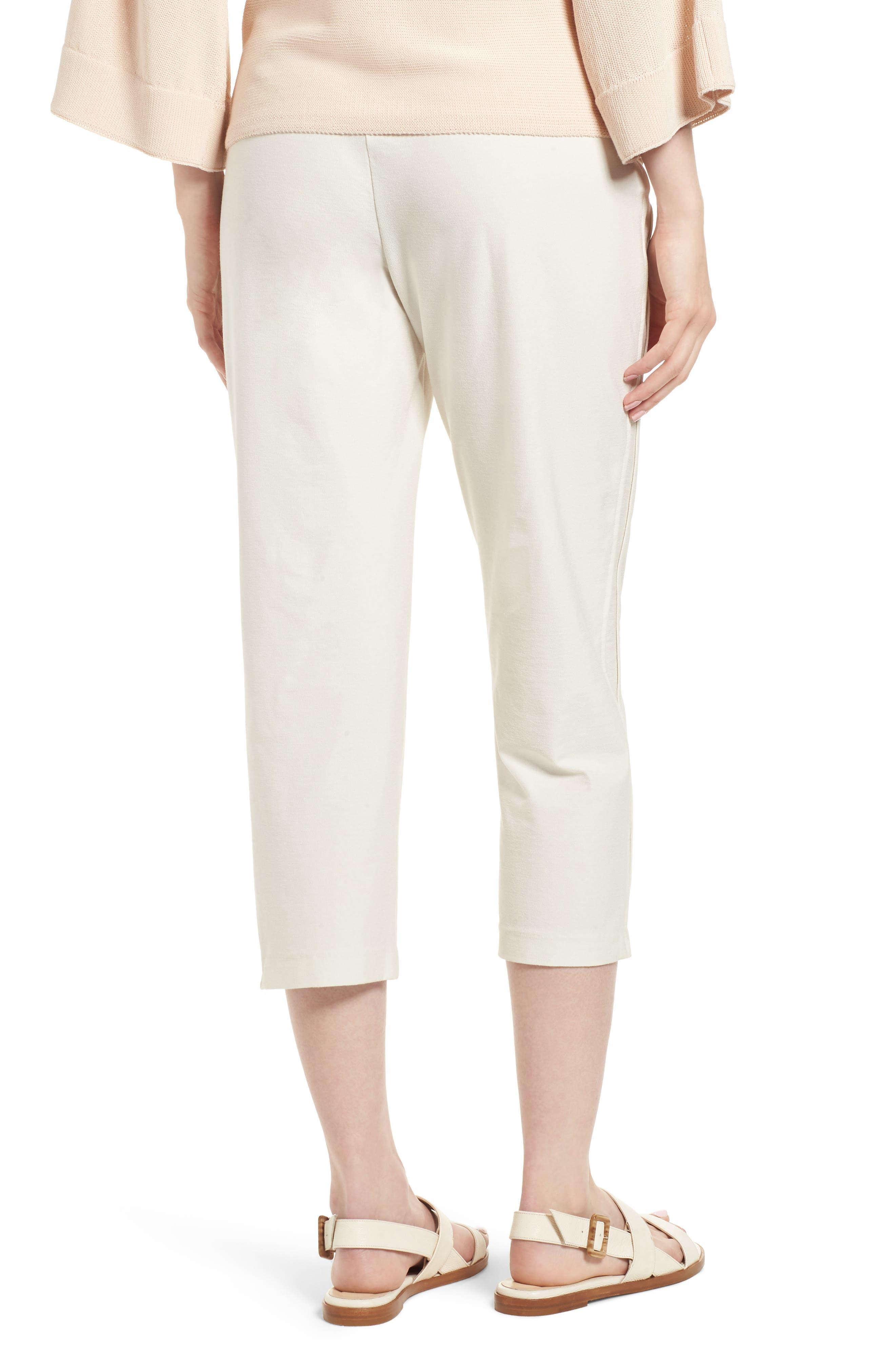 Foldover Waist Stretch Crepe Capri Pants,                             Alternate thumbnail 2, color,                             907